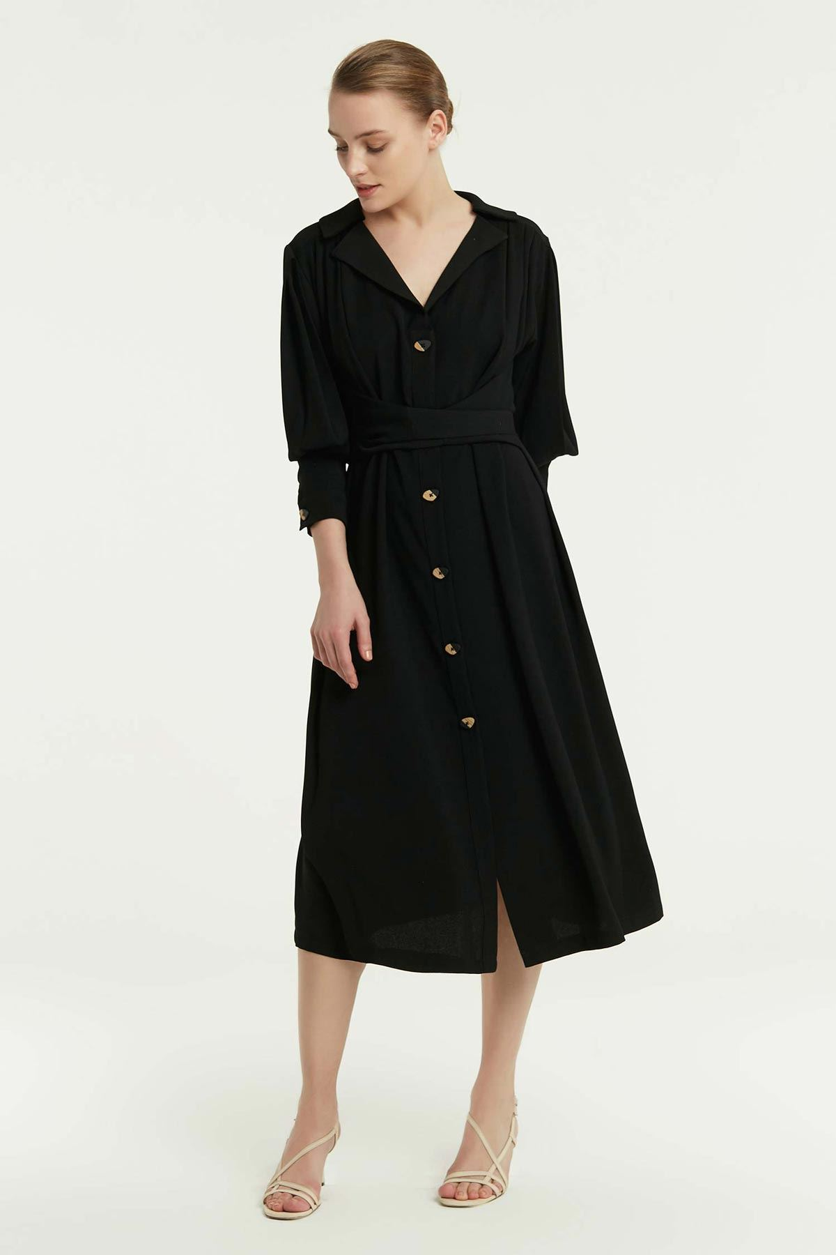 Ön Düğmeli Belden Bağlamalı Elbise Siyah