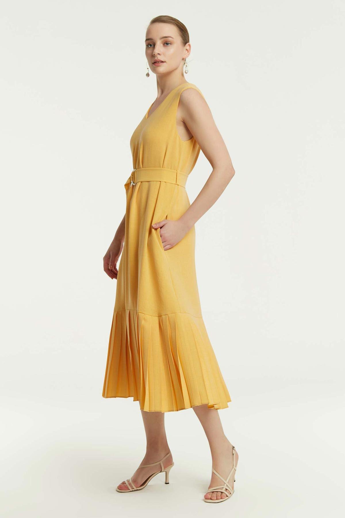 Etek Ucu Piliseli Elbise Sarı