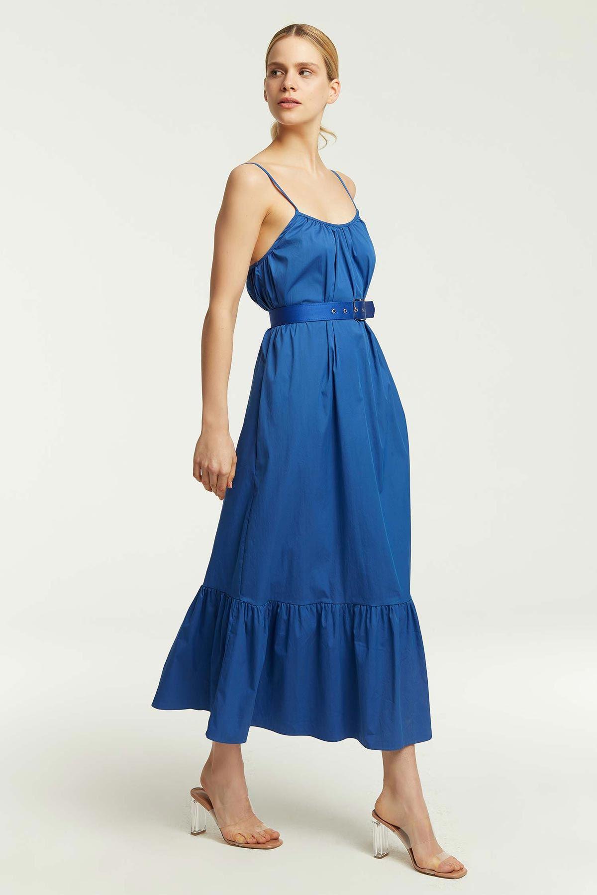 Askılı Kemerli Elbise İndigo