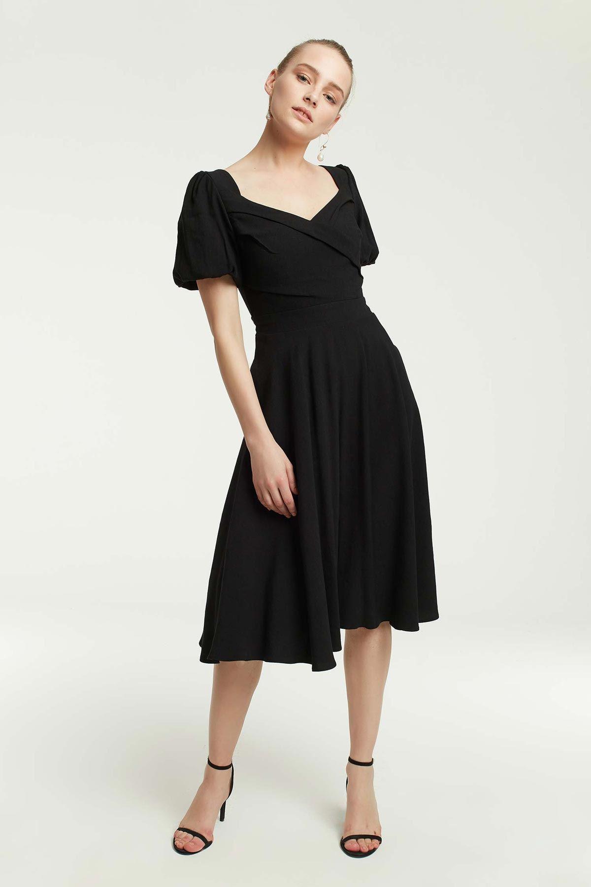 Balon Kollu Eteği Volanlı Elbise Siyah