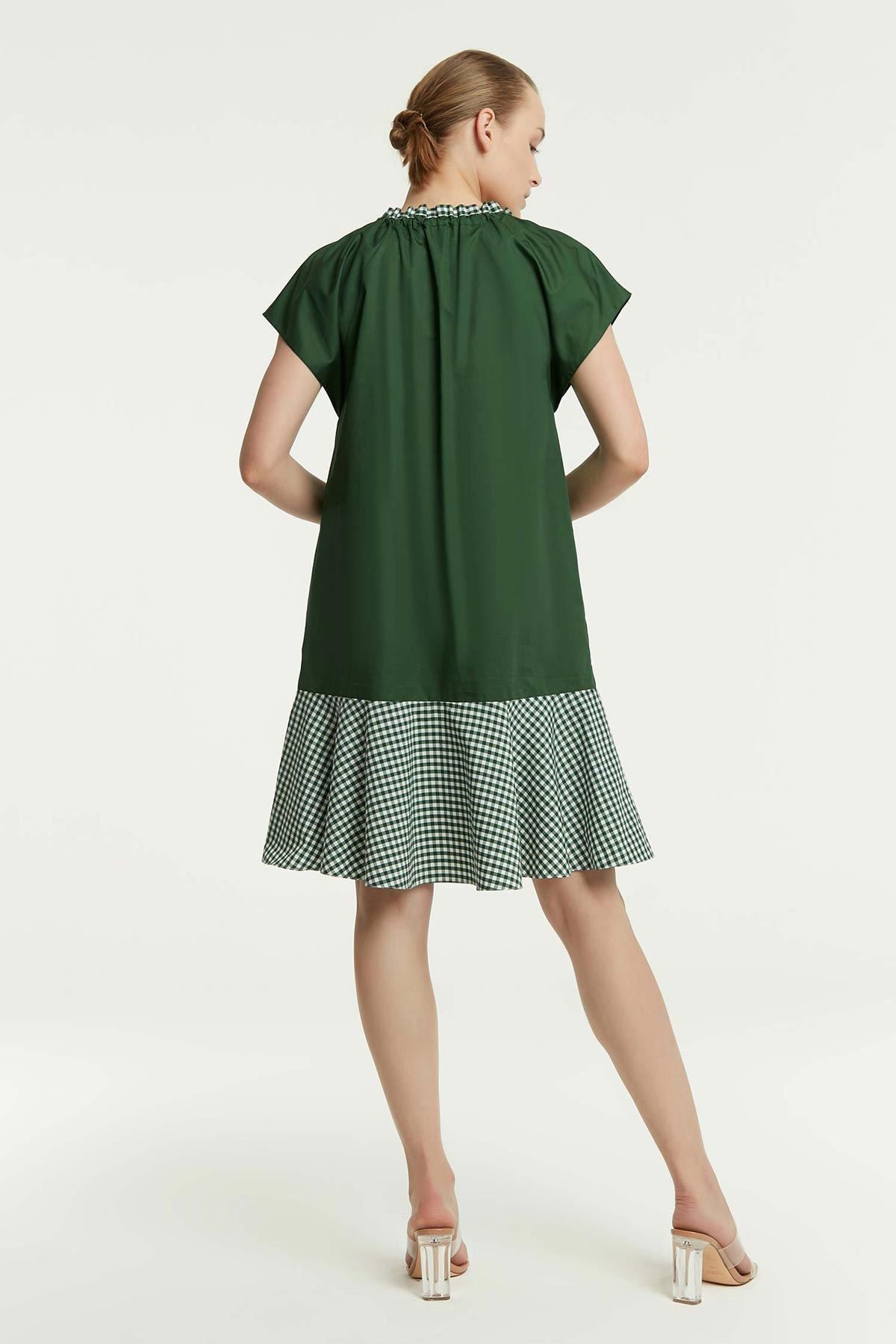Kumaş Mixli Elbise Yeşil