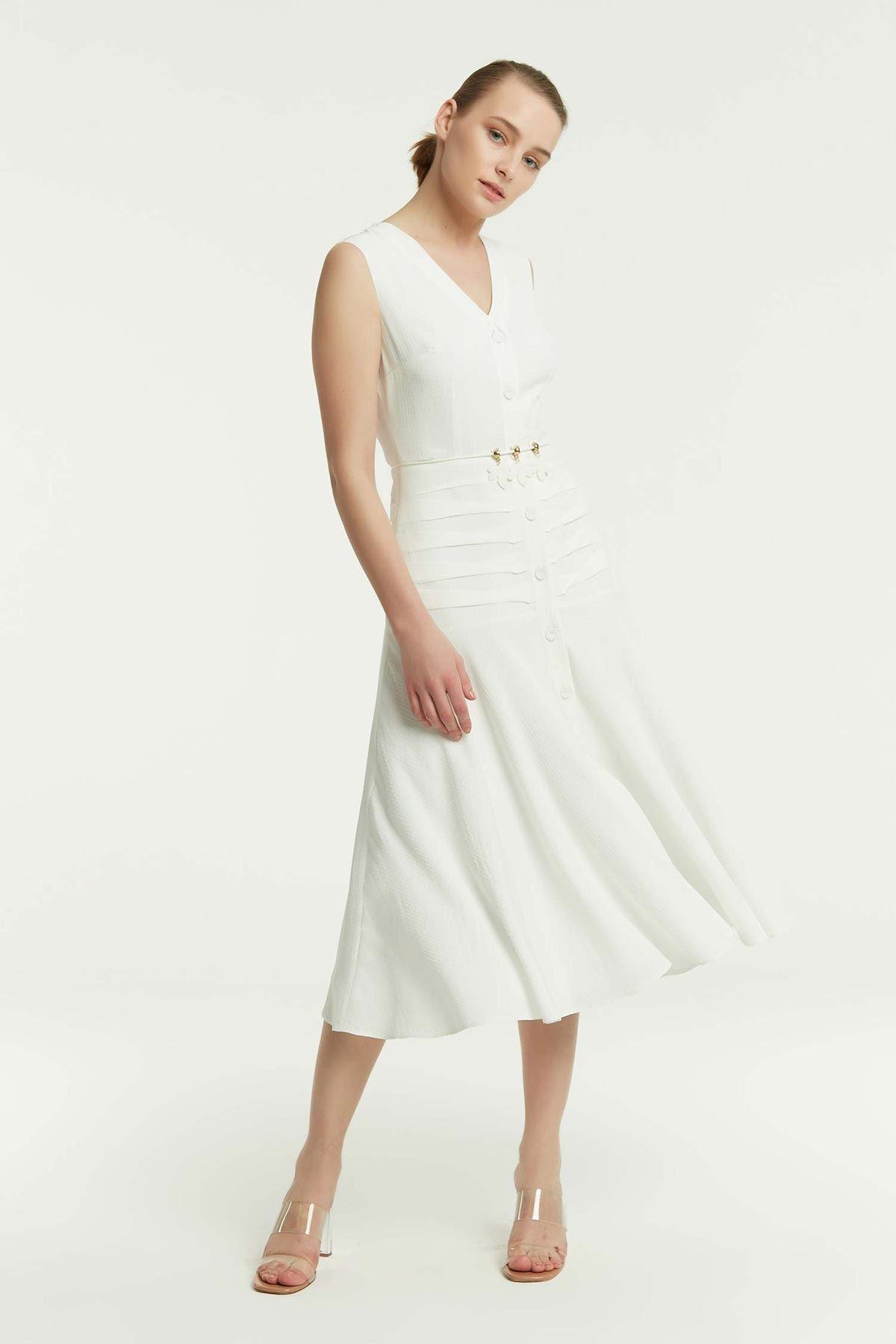 Bel Korsajlı Kolsuz Elbise Beyaz