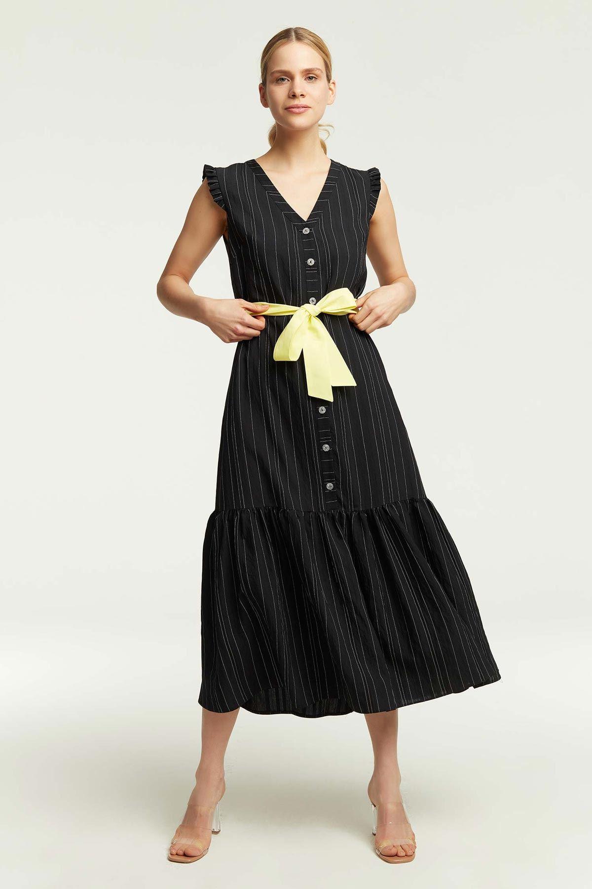 Omuz Fırfırlı Çizgili Elbise Siyah