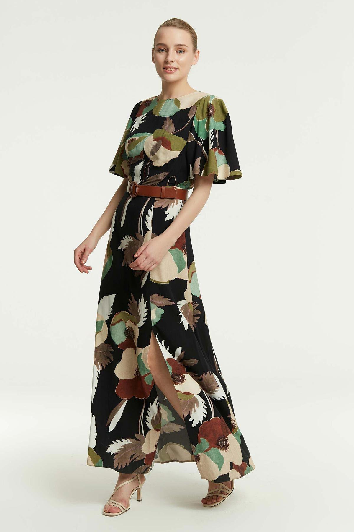Volan Kollu Yırtmaçlı Elbise Multi