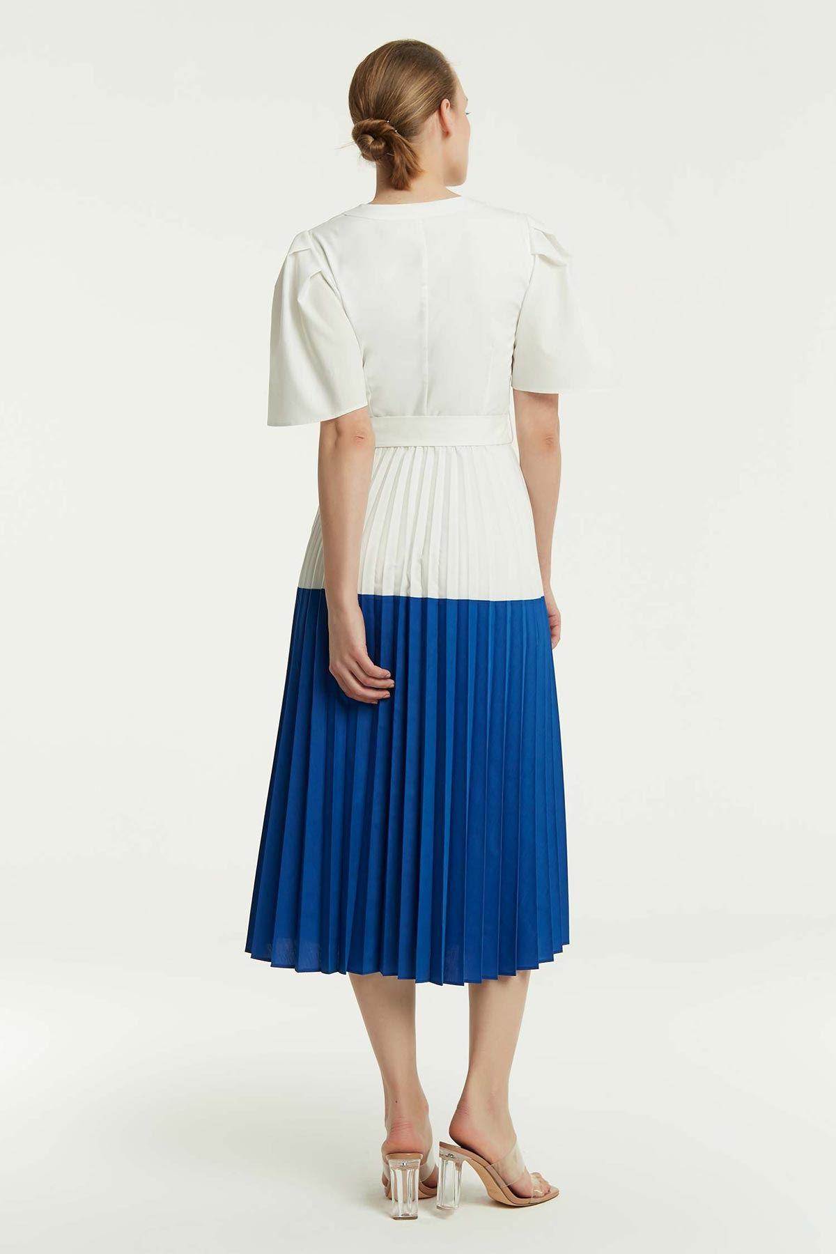 Bel Vurgulu Elbise Beyaz