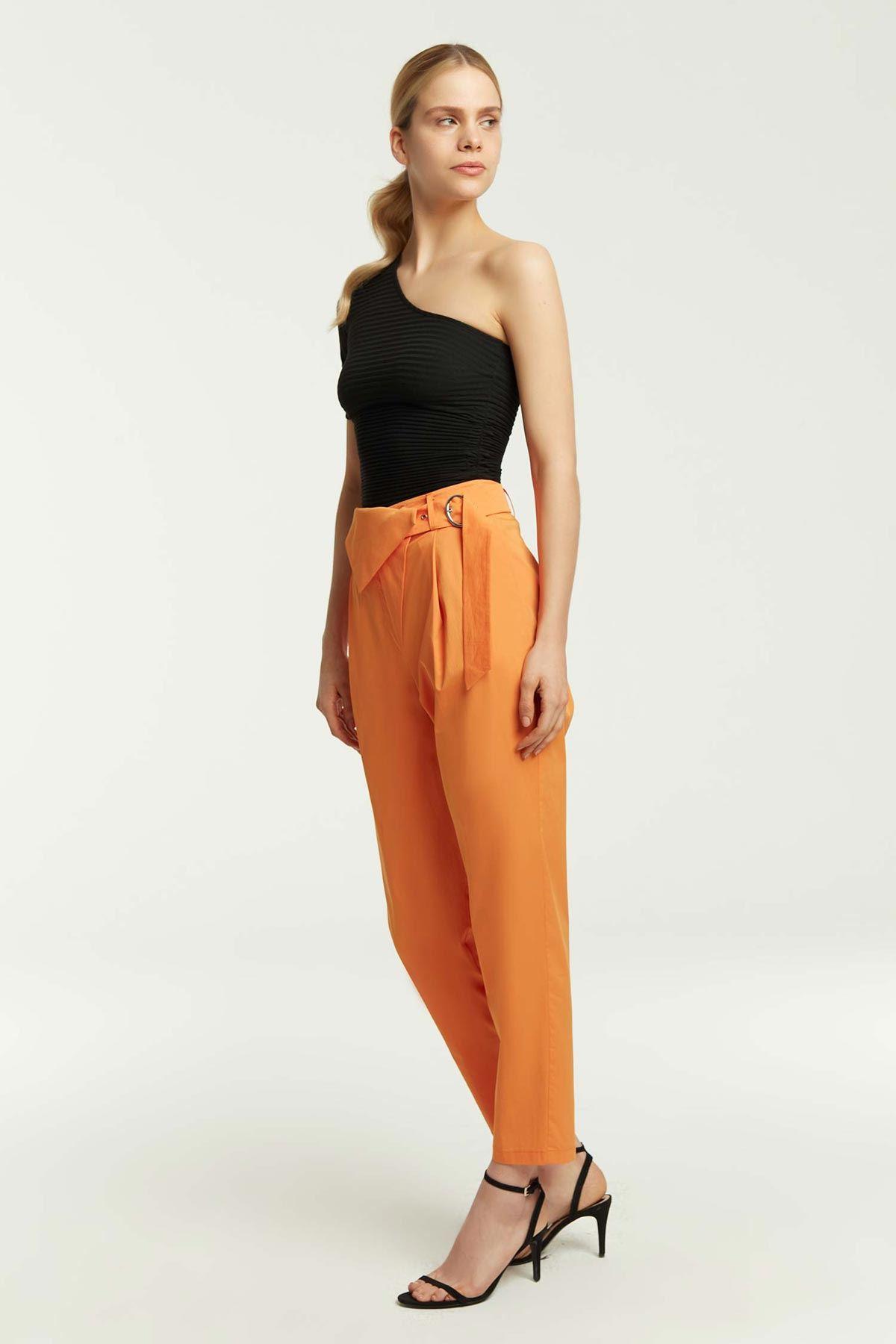 Ön Allerli Havuç Form Pantolon Oranj