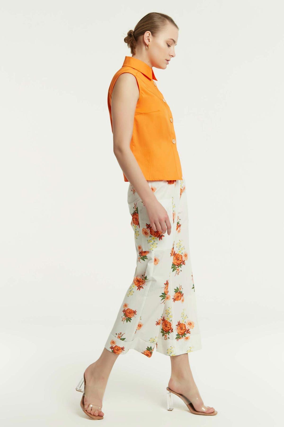 Ön Pileli Kolsuz Gömlek Oranj