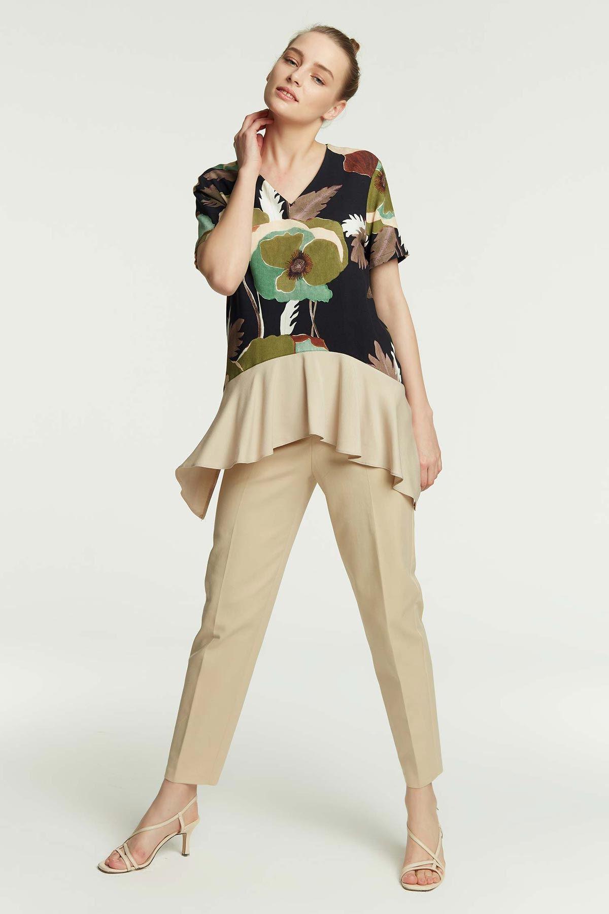 Kumaş Mixli Düşük Omuz Bluz Multi