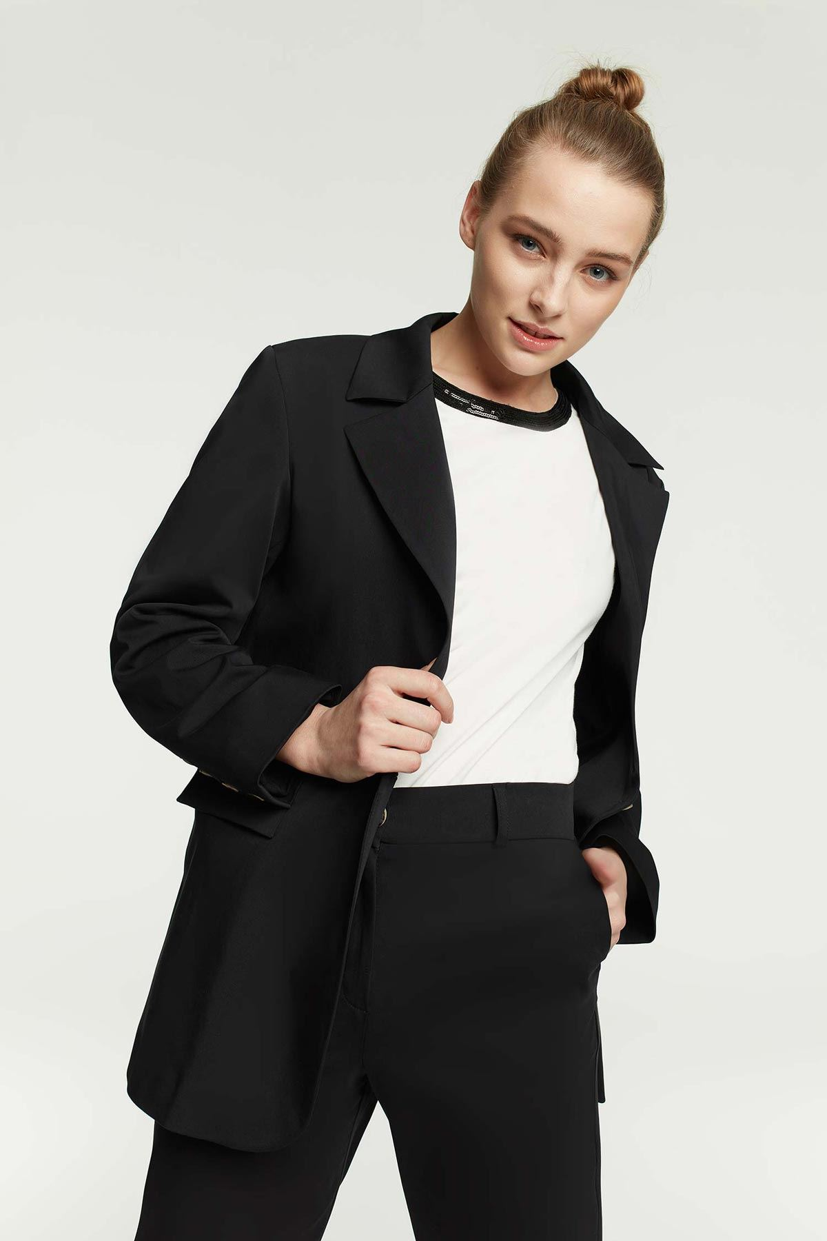 Mono Yaka Boyfrend Ceket Siyah