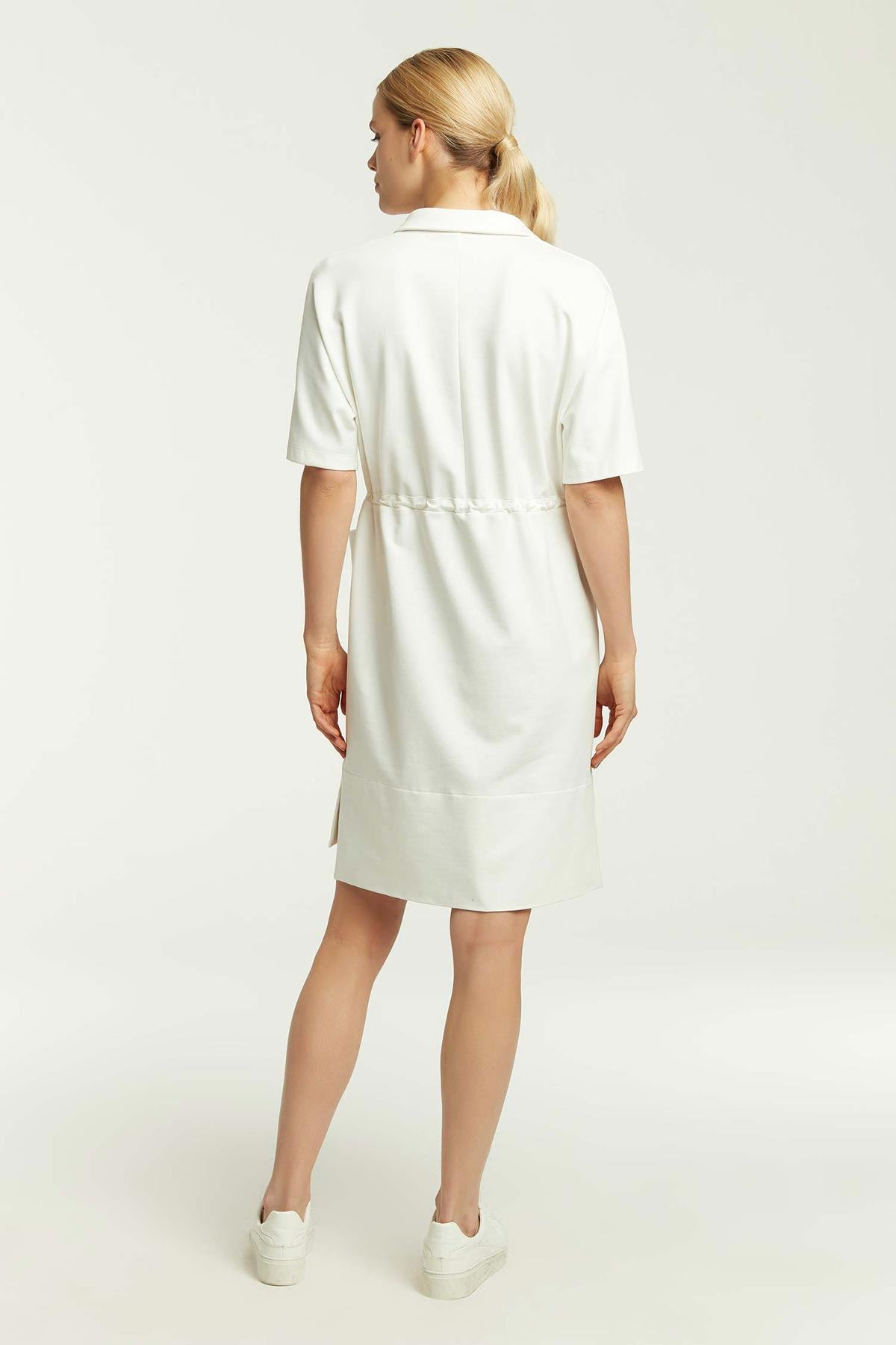 Bel Bağcıklı Papatyalı Elbise Beyaz