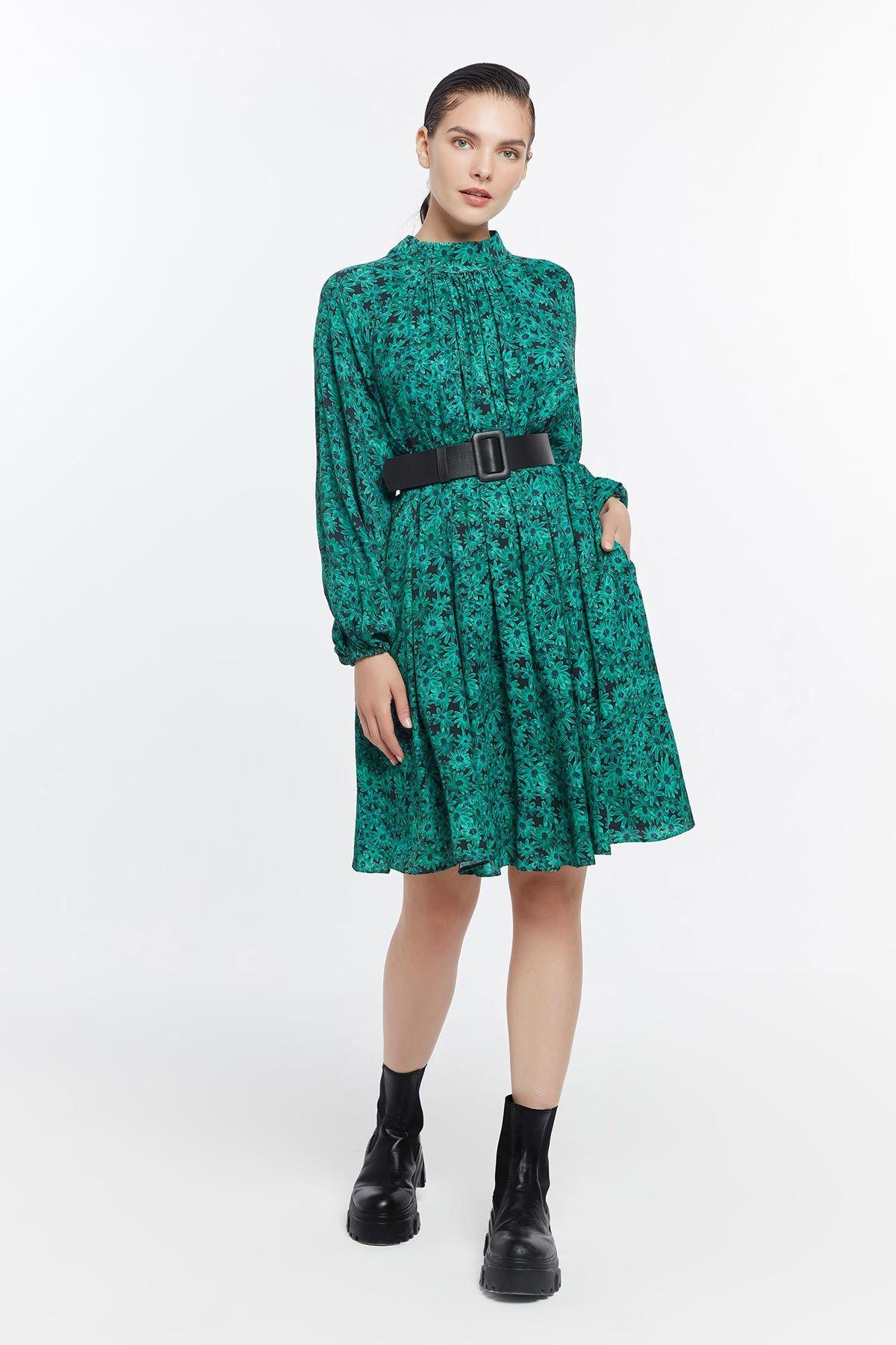 Oversize çiçek desenli elbise Yeşil