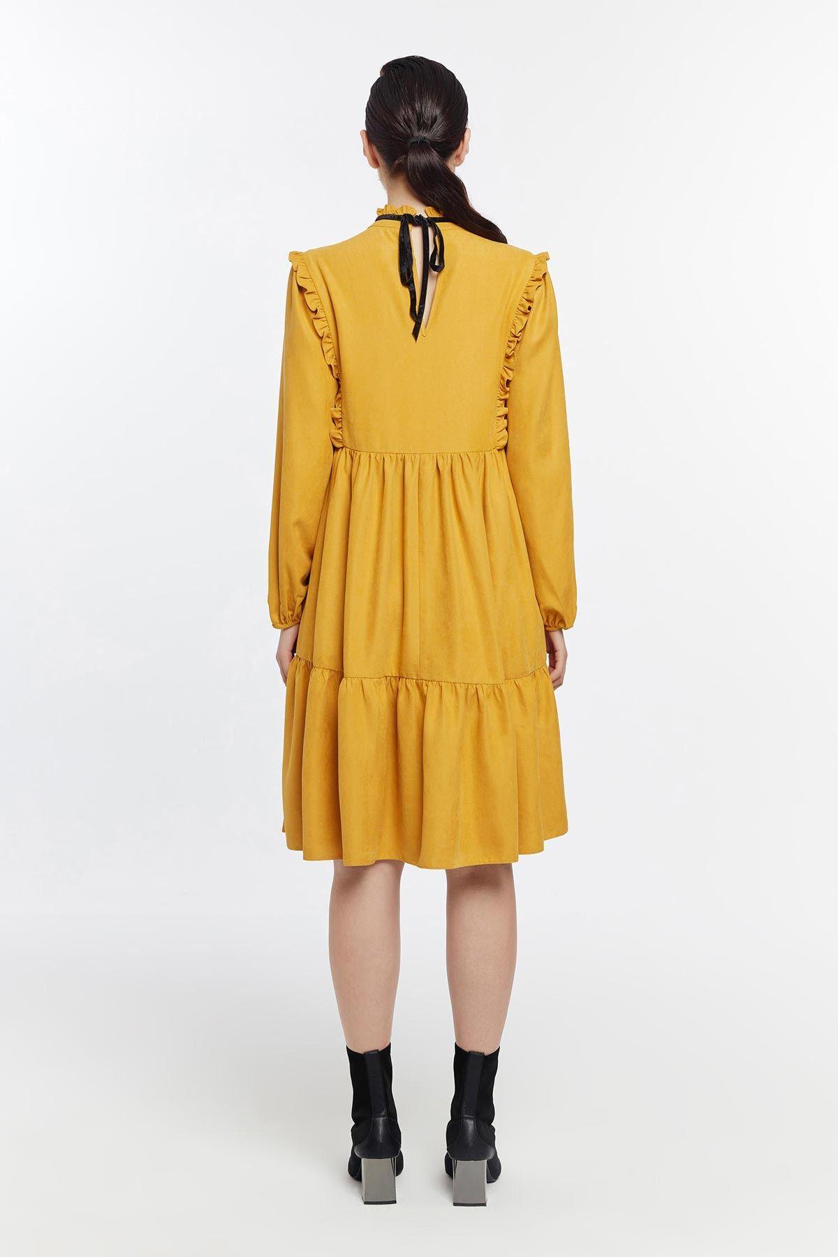 Büzgülü oversize elbise Safran
