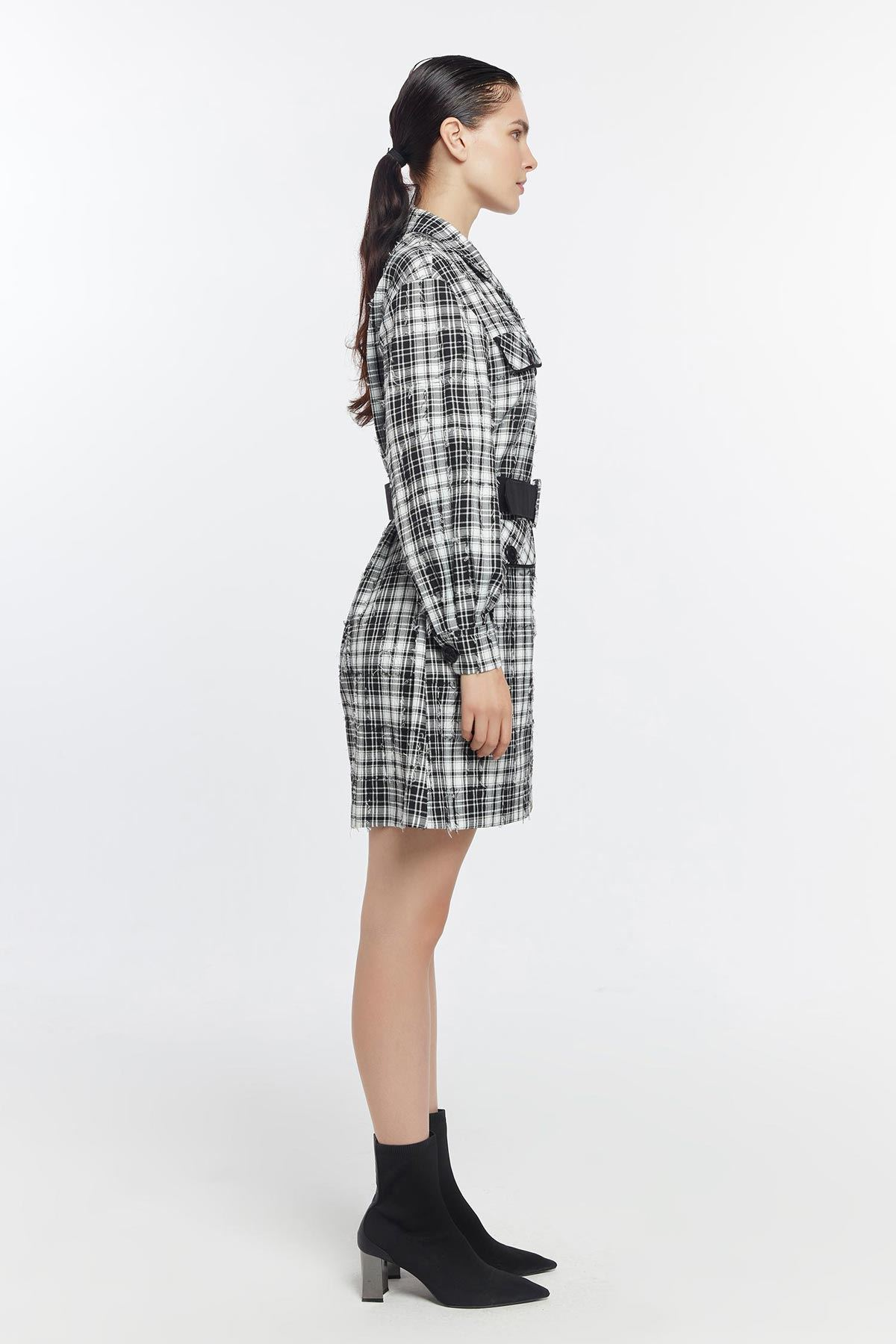 Kareli ceket elbise Siyah