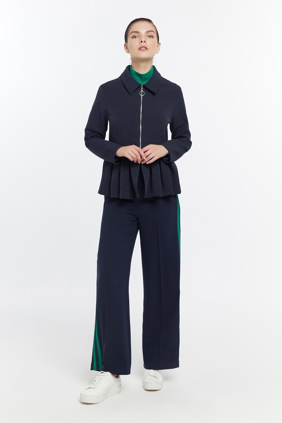 Önden fermuarlı piliseli ceket Lacivert
