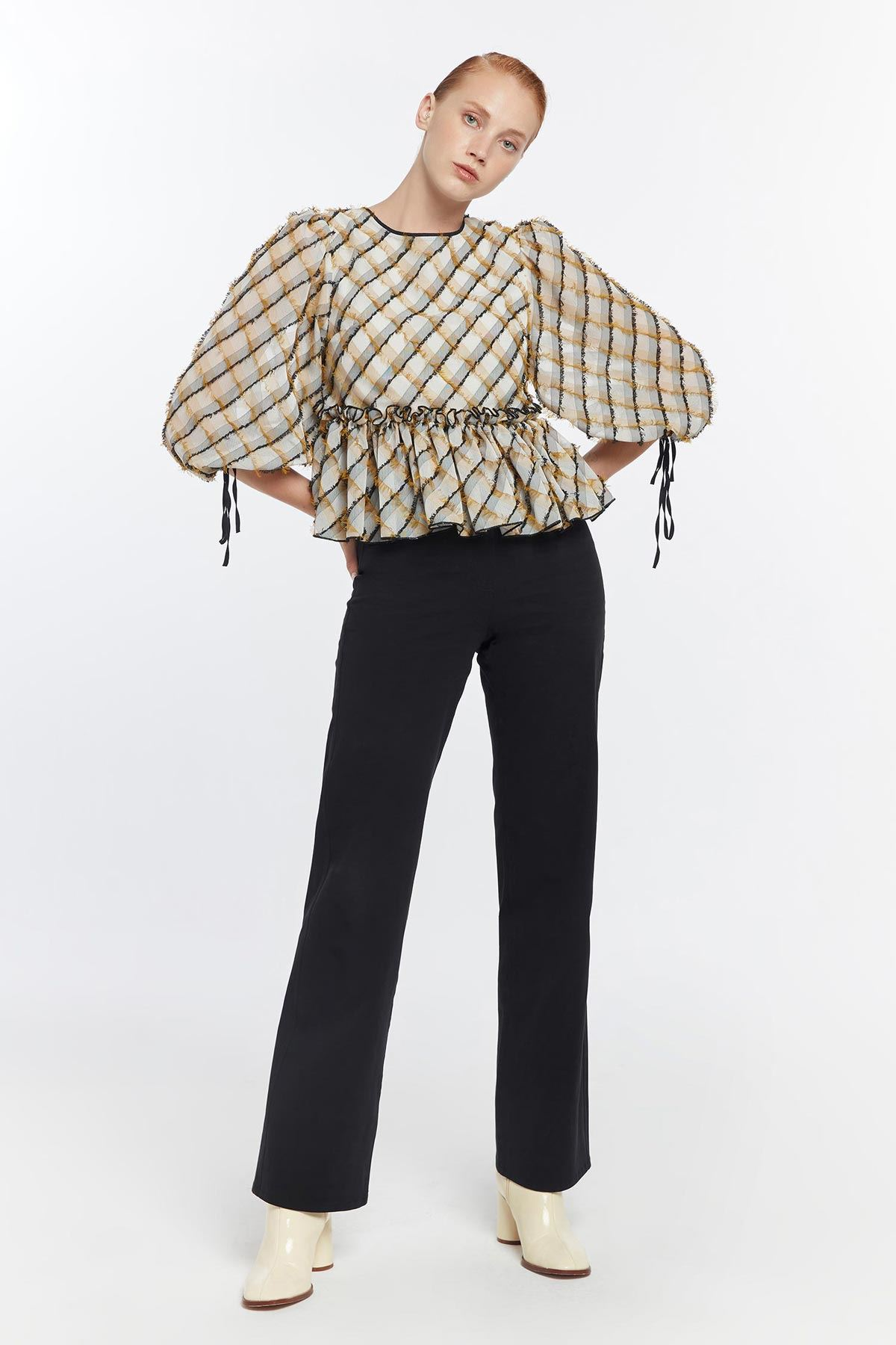 Balon kol fırfır şeritli bluz Safran