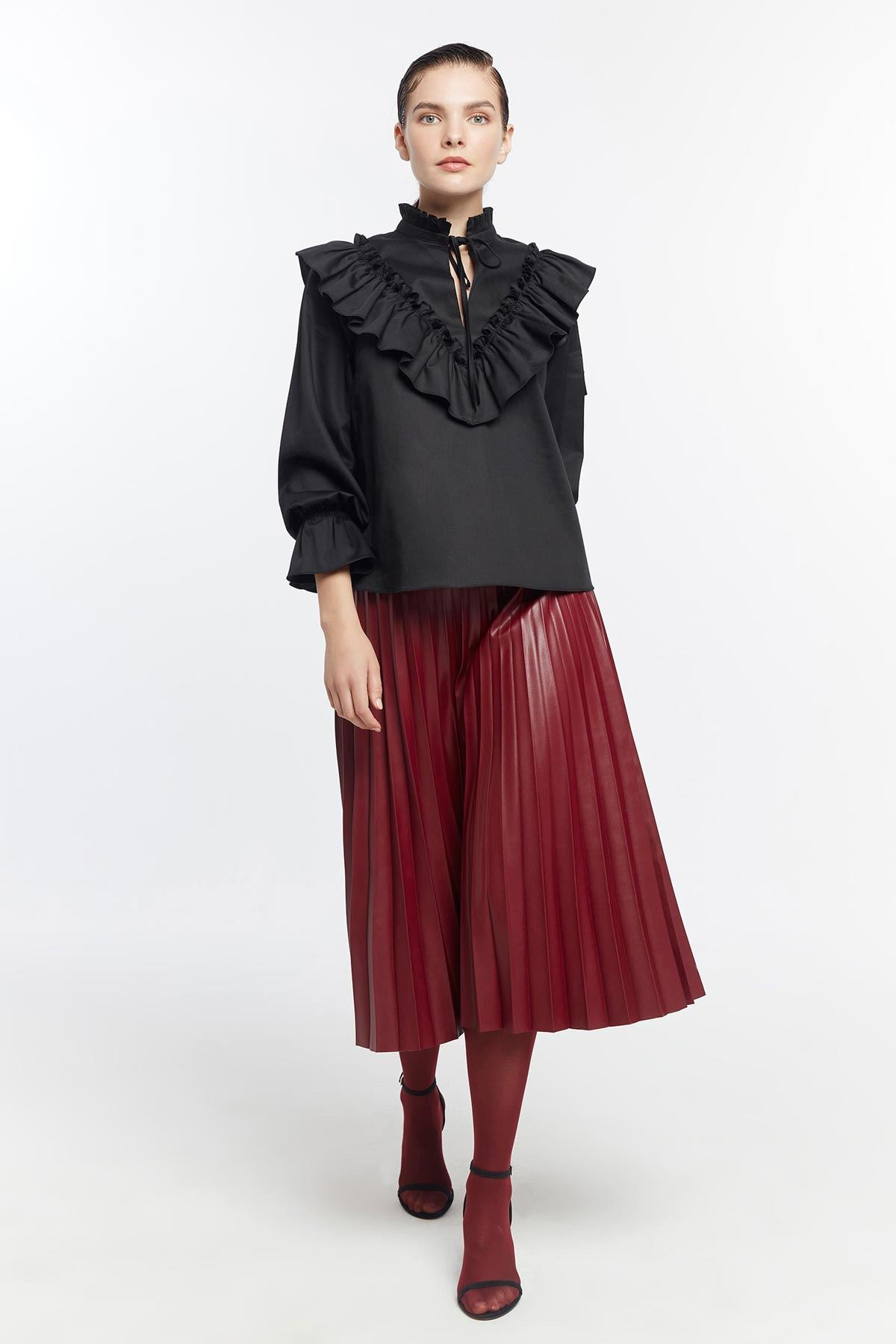 Fırfır şeritli bluz Siyah