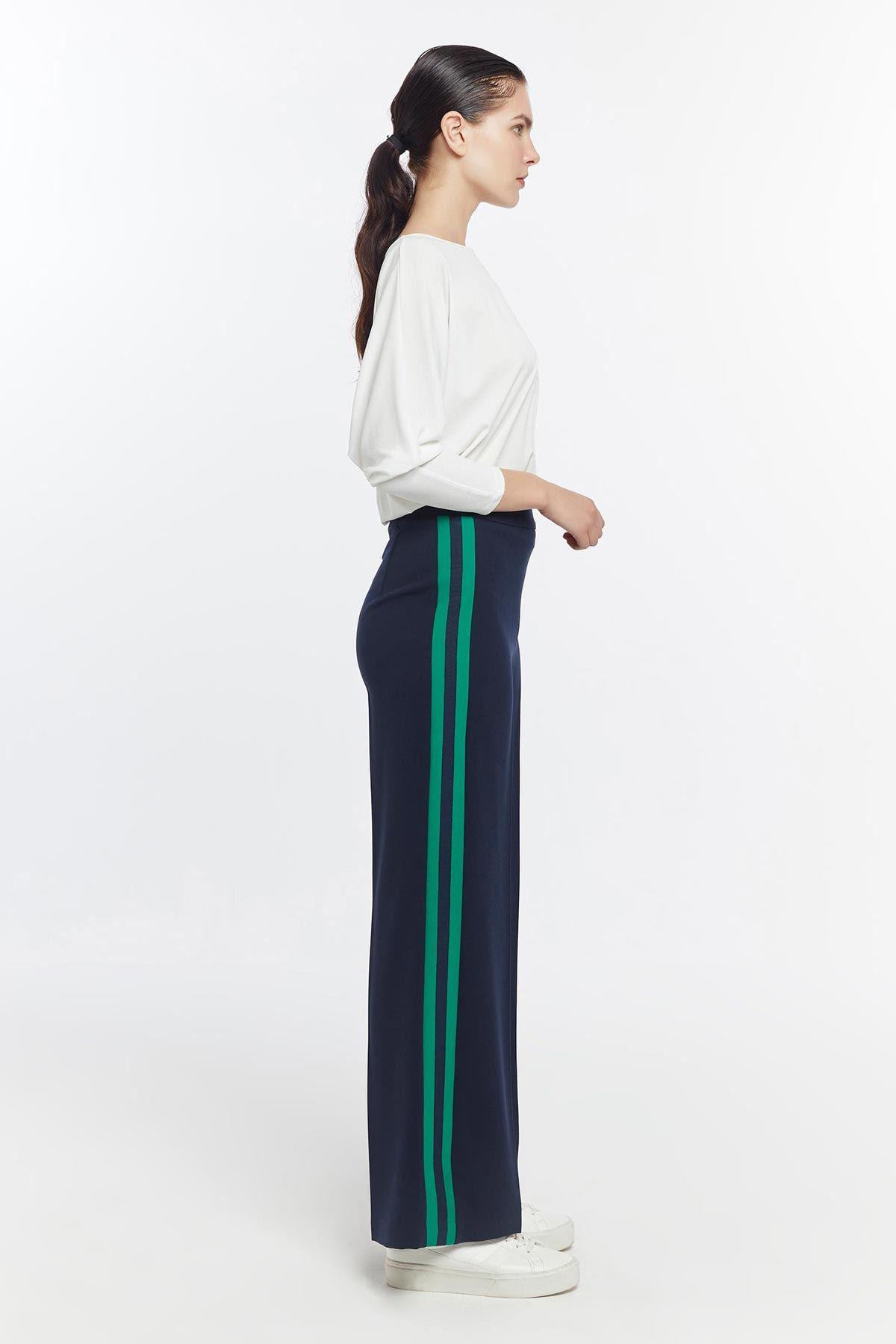 Yan grogren detaylı bol pantolon Lacivert