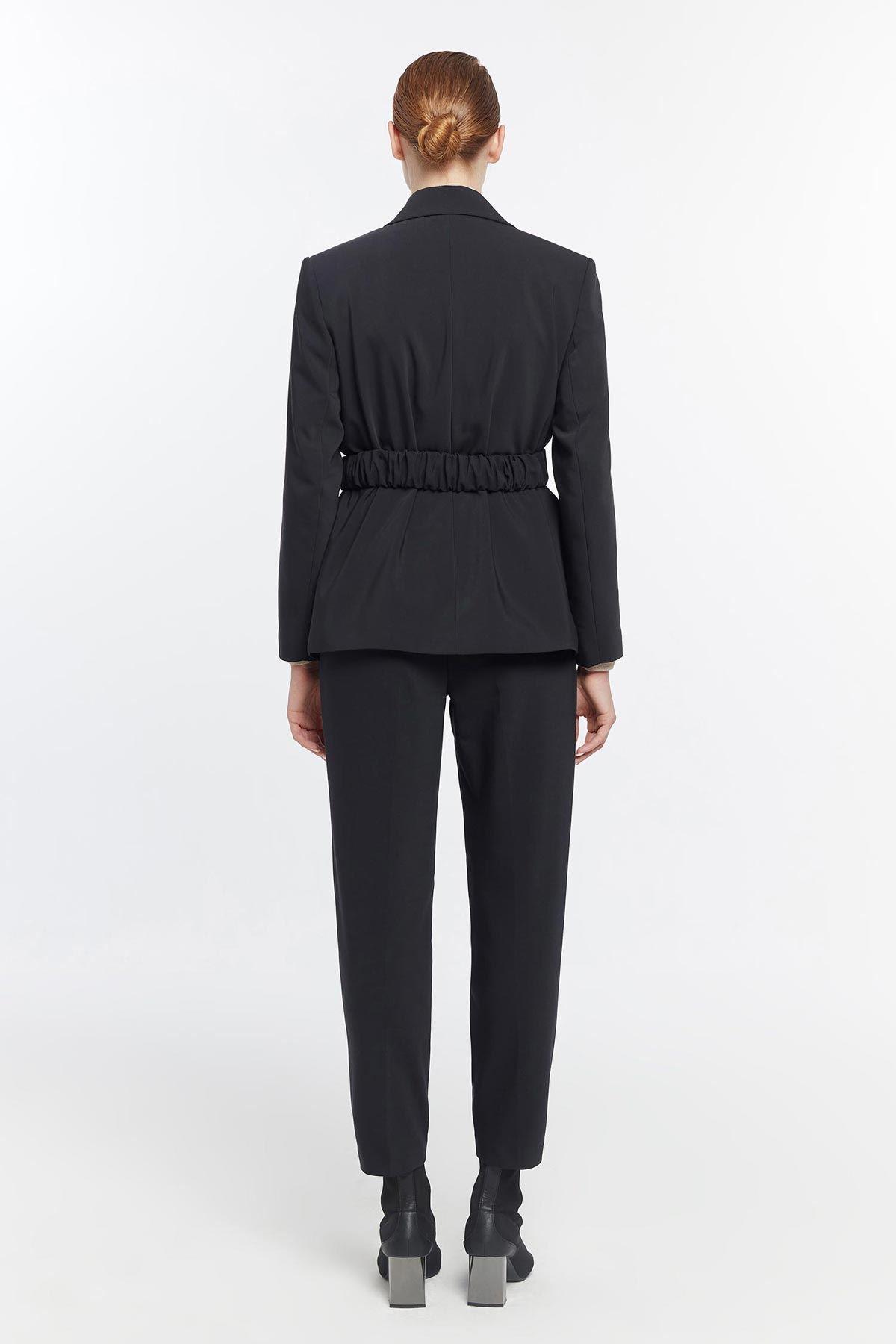 Kemerli blazer ceket Siyah