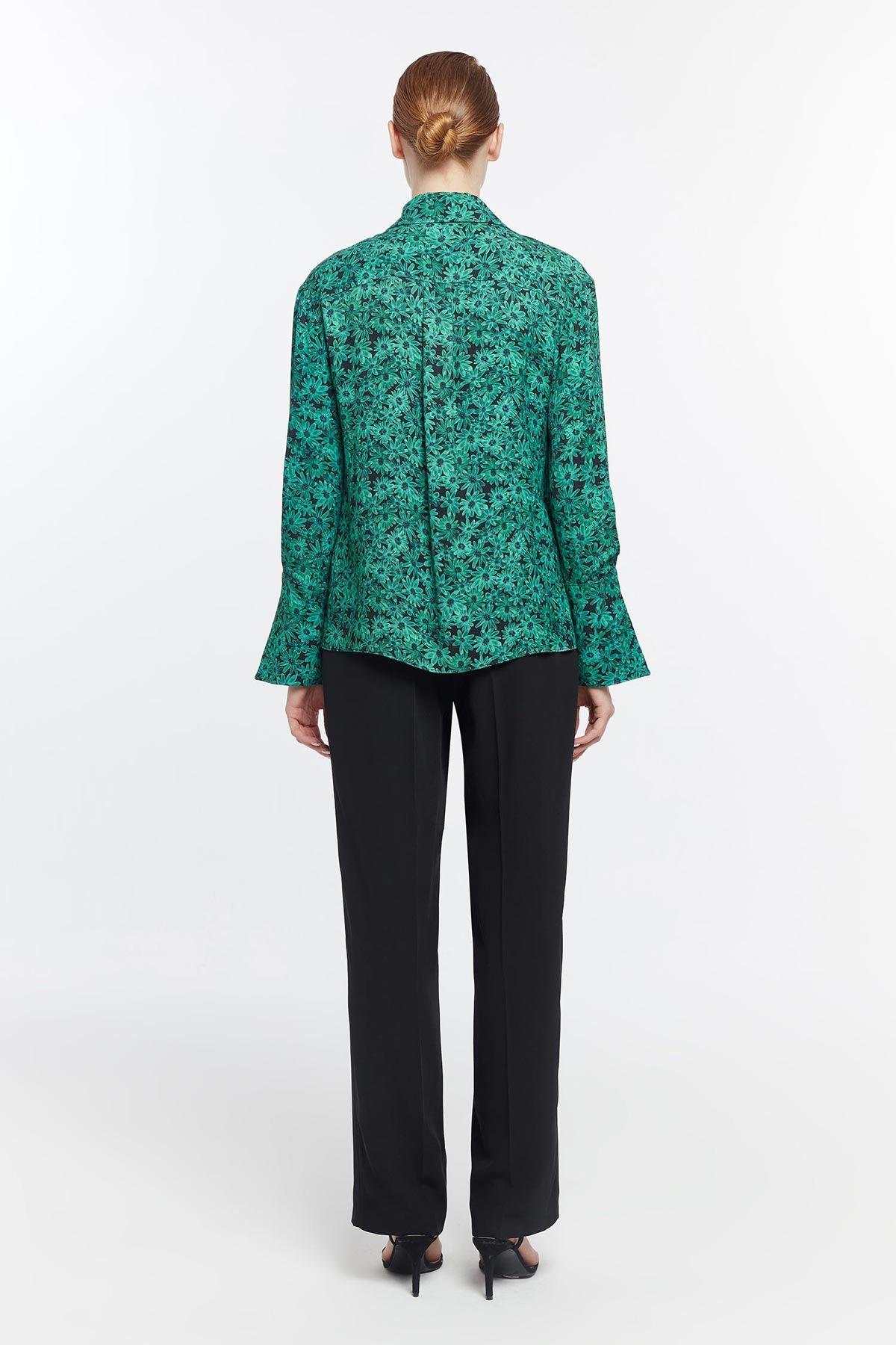 Su patlı çicek desenli gömlek Yeşil