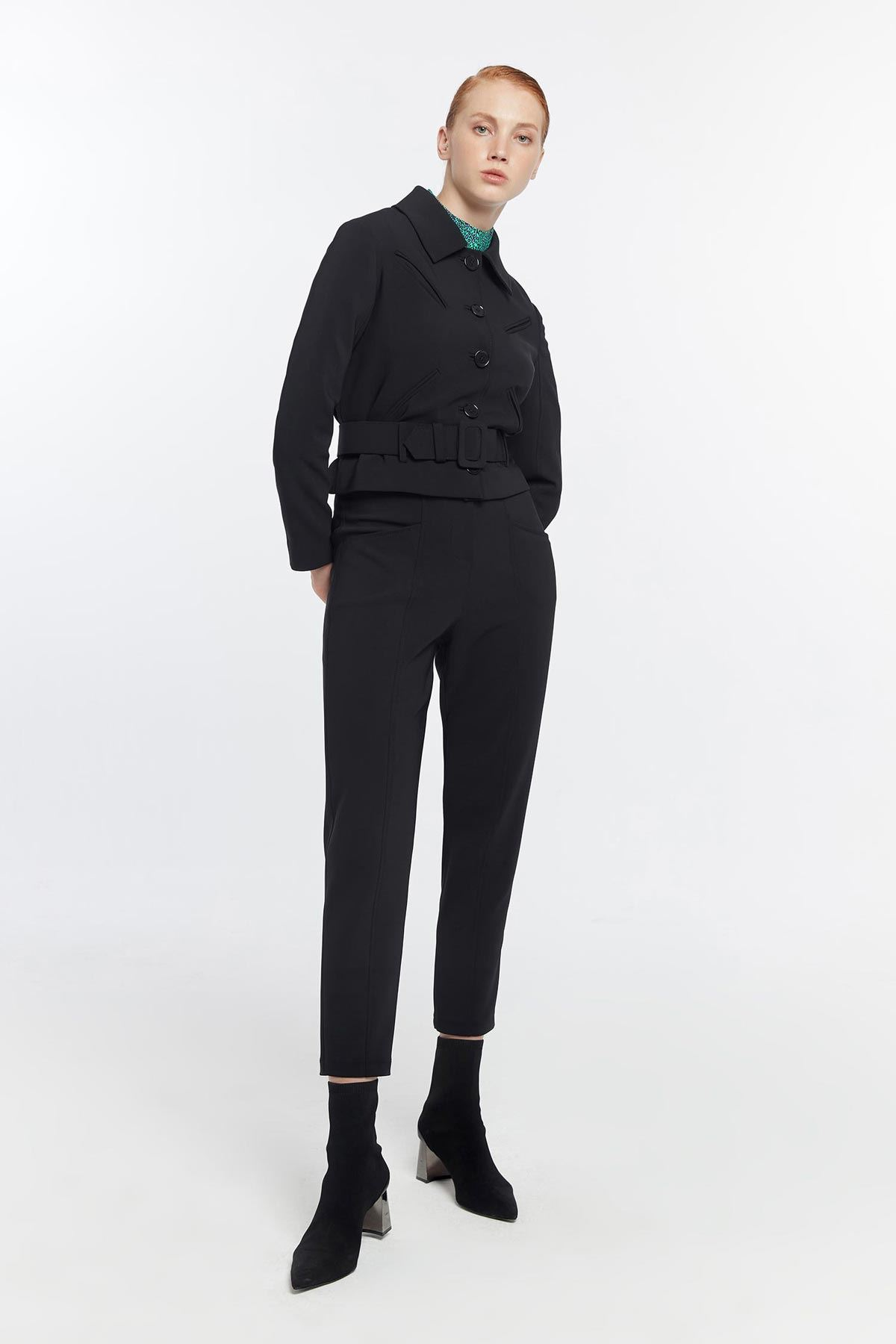 Fileto cepli kemerli ceket Siyah