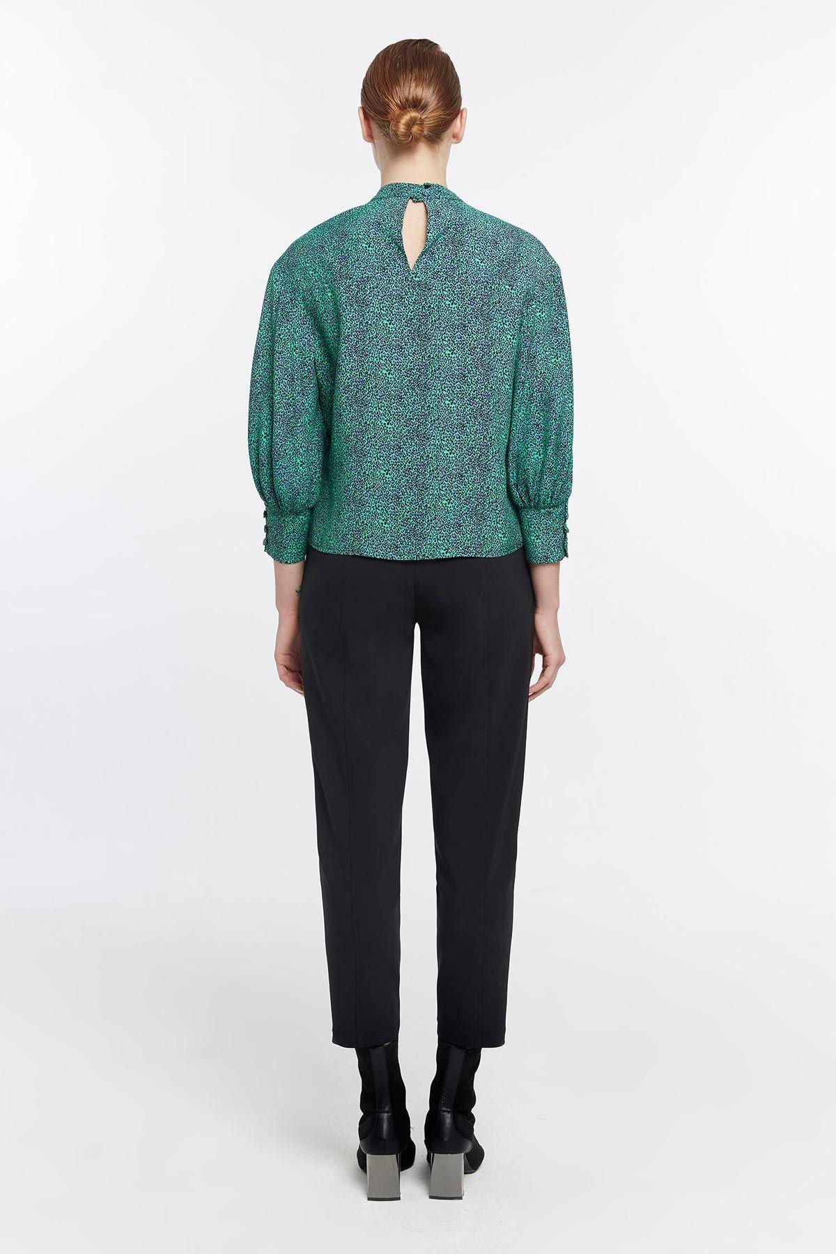Balon kol leopar desenli bluz Yeşil