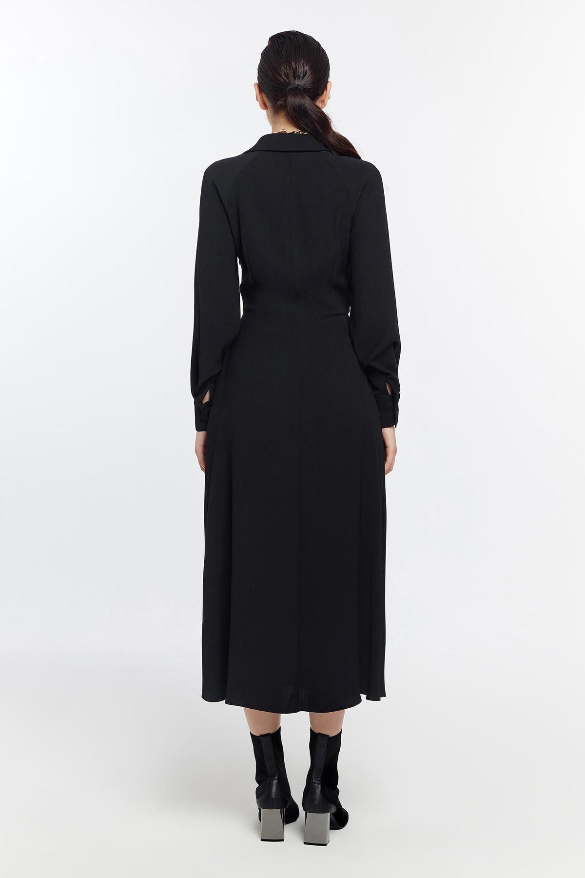 Önden bağlamalı elbise Siyah