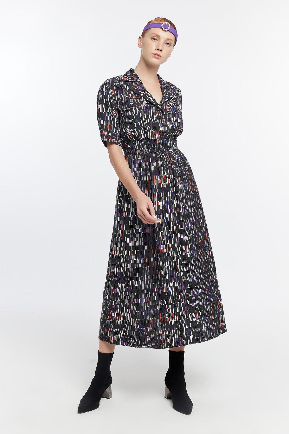 Bel gipeli elbise Siyah
