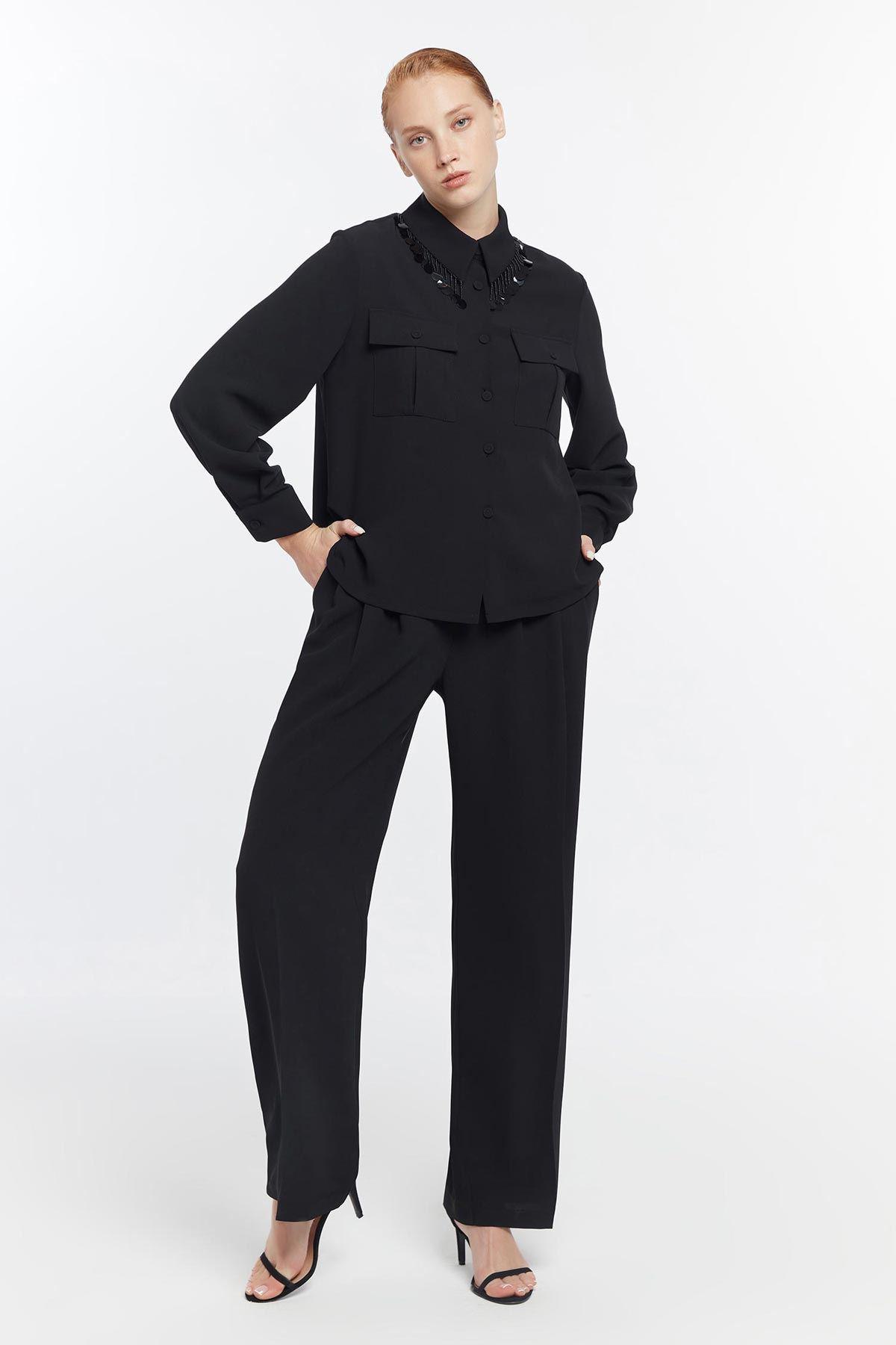 Yakada payet geçmeli gömlek Siyah