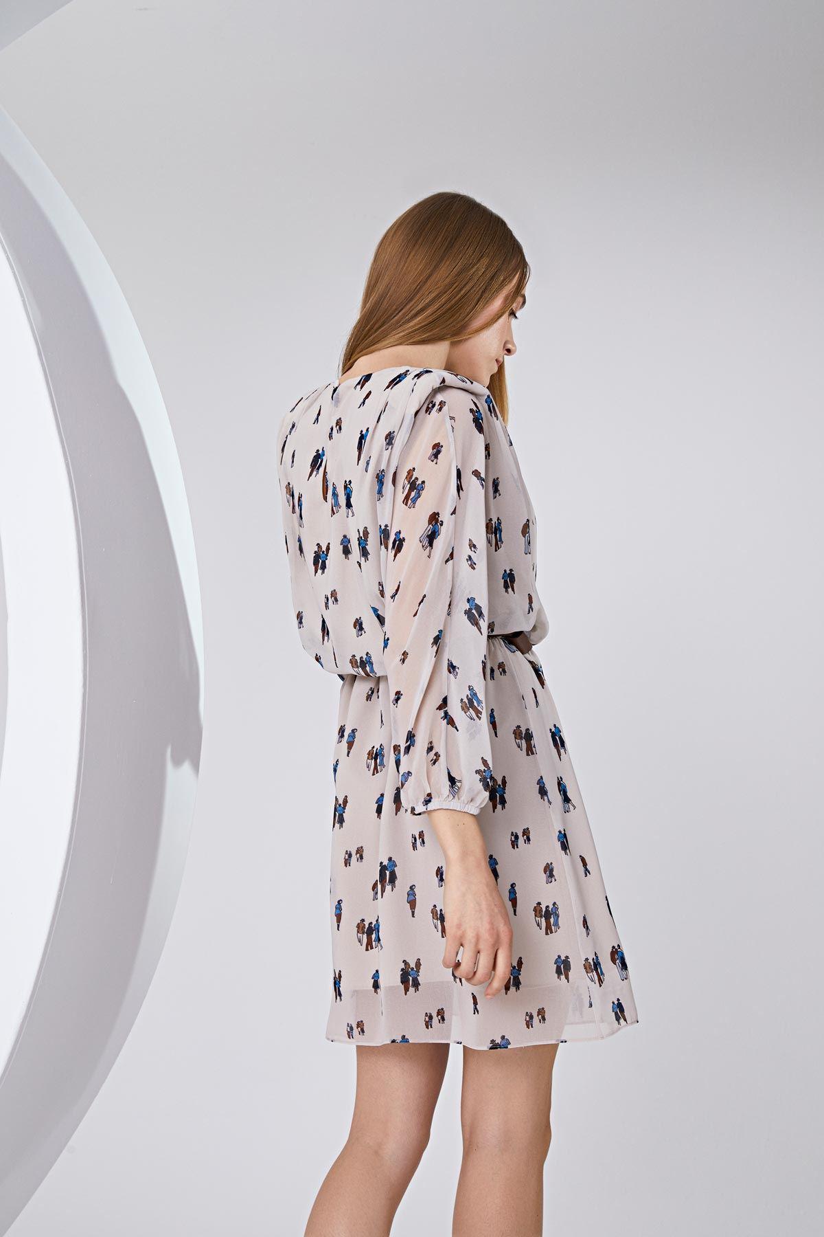Figür baskılı elbise Bej