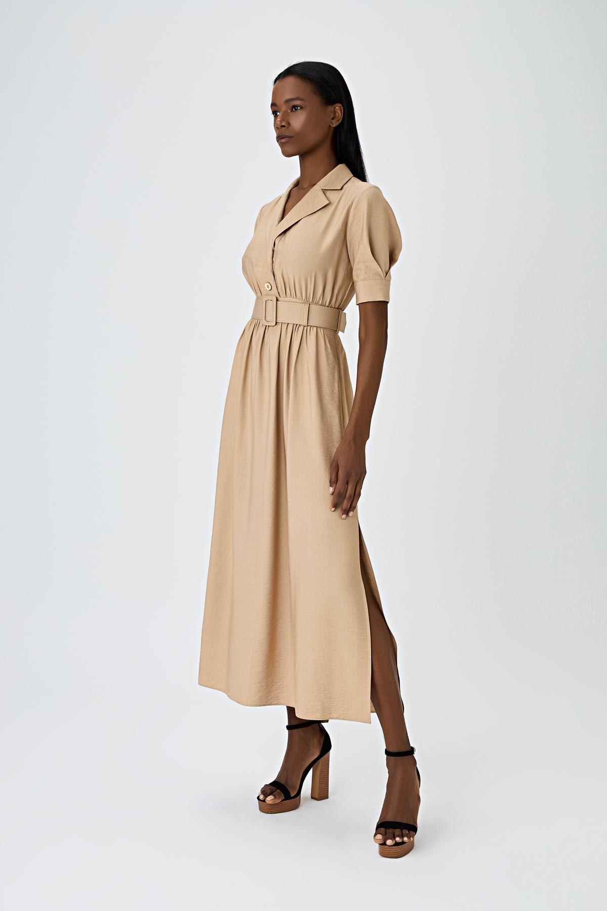 Kemerli midi elbise Bej