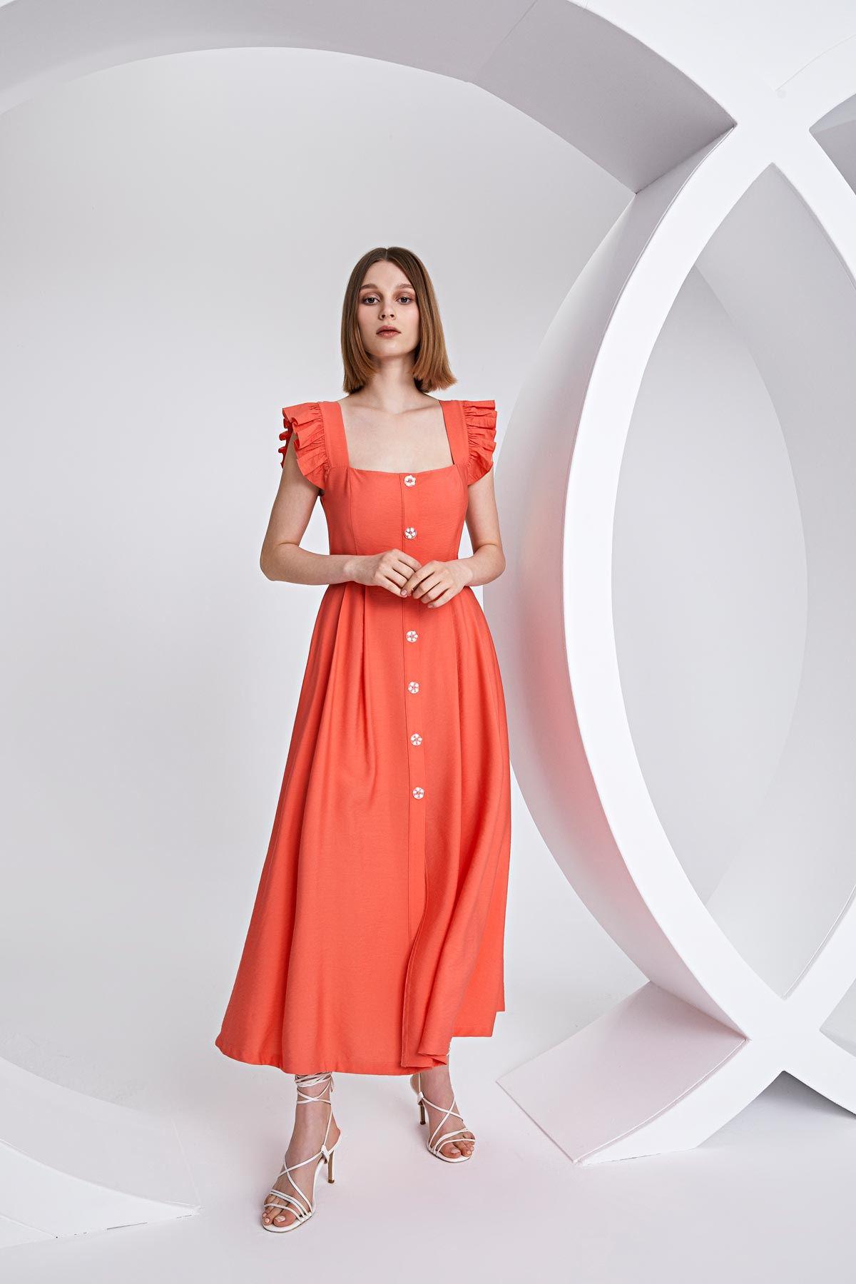 Ön düğmeli kare yaka elbise Mercan