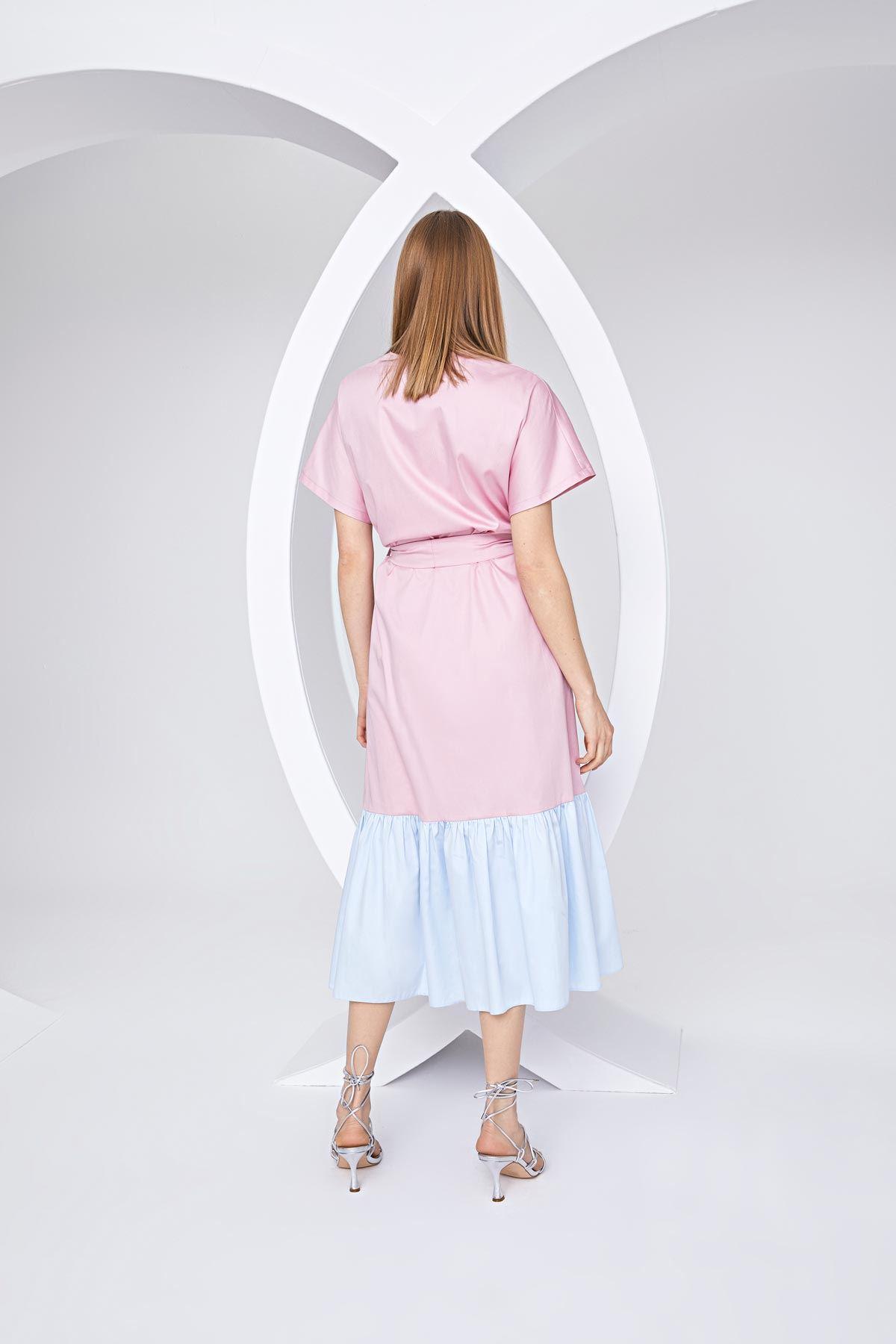 Color block oversize elbise Pembe