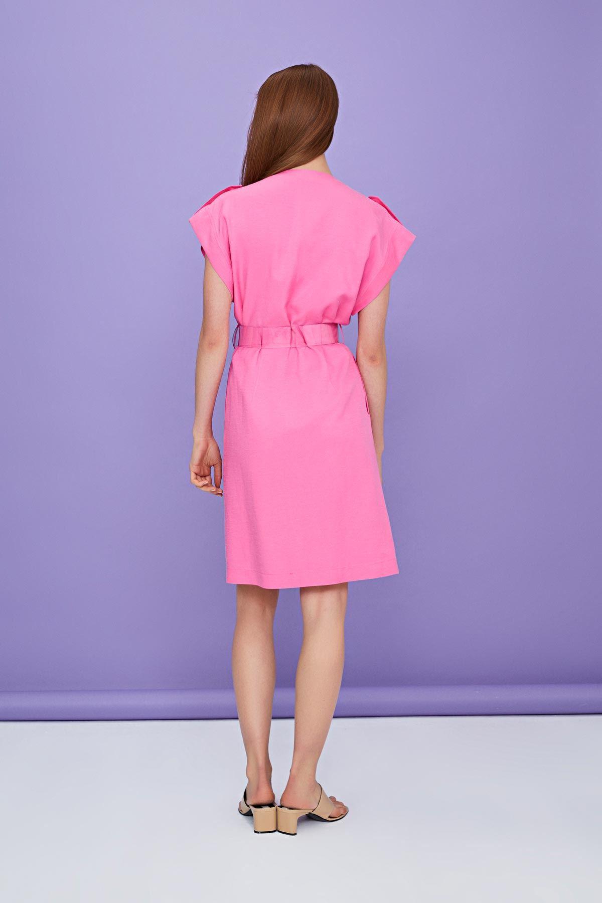 Düğmeli mini keten elbise Pembe