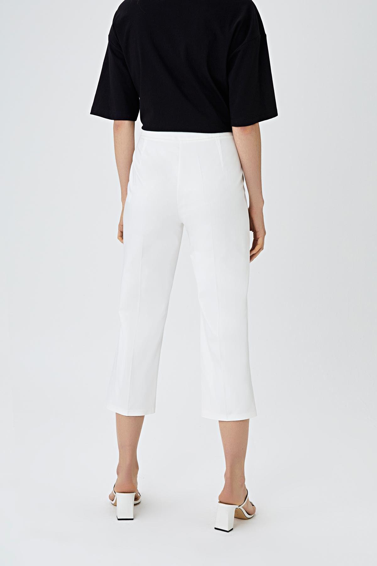 Kısa paça fit pantolon Beyaz