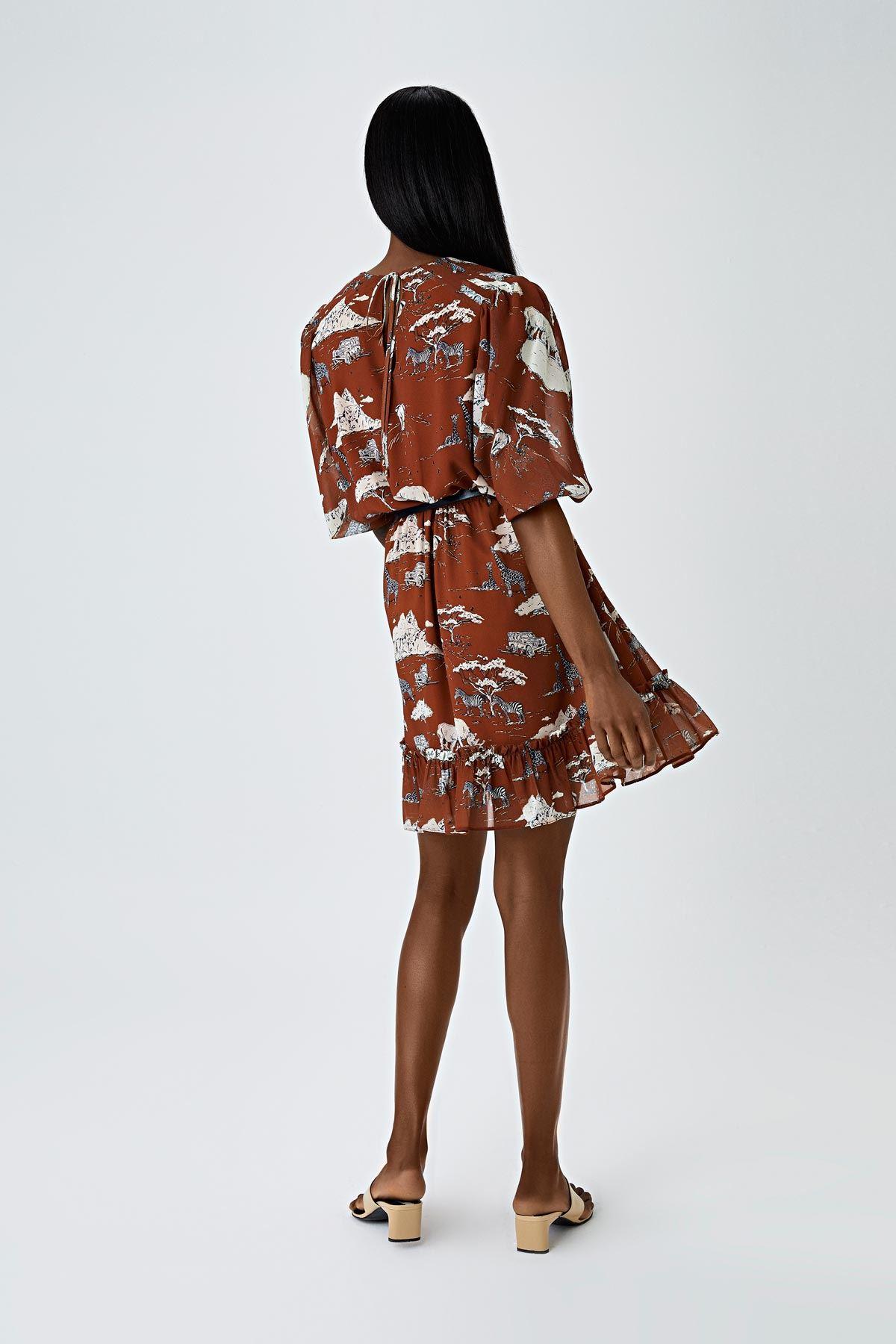 Afrikan desenli elbise Kiremit