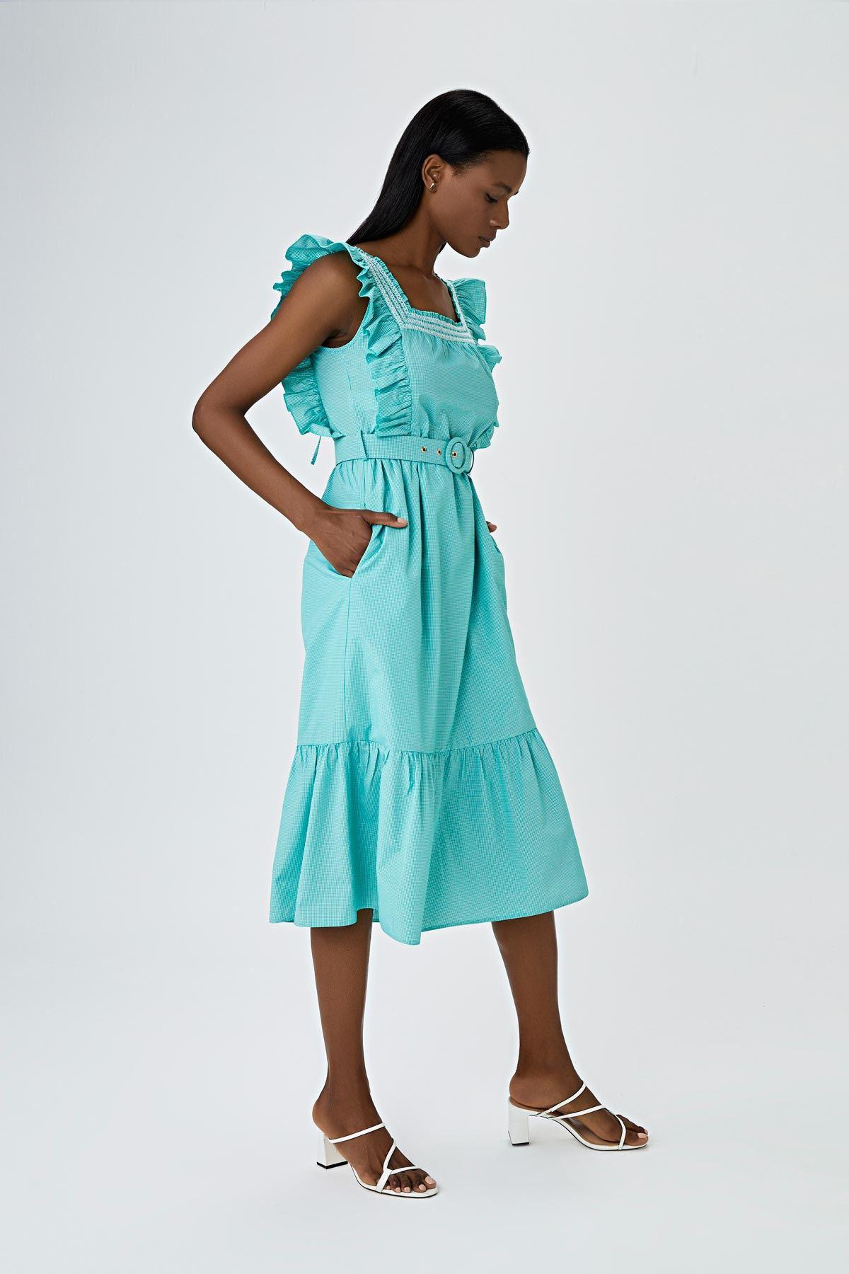 Kare yaka fırfır şeritli elbise Mint