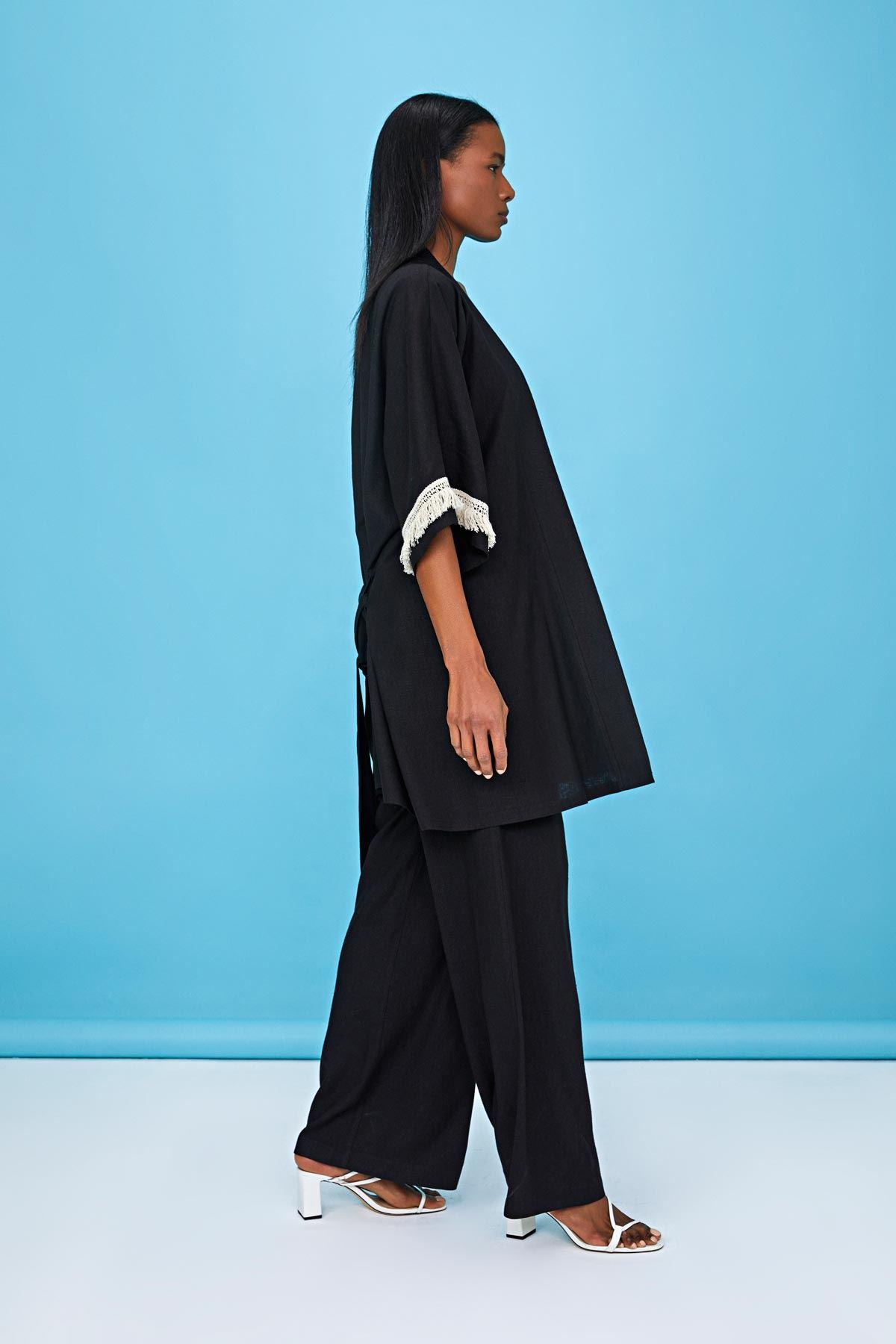 Şerit püsküllü kimono ceket Siyah