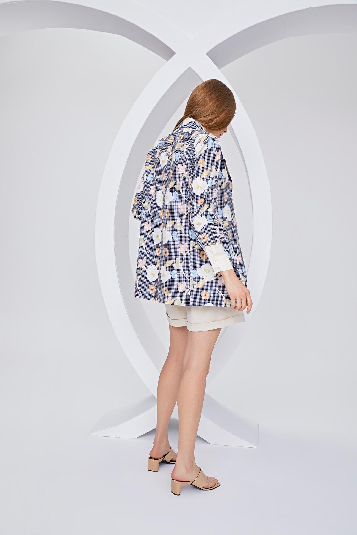 Çiçek desenli ceket Lacivert