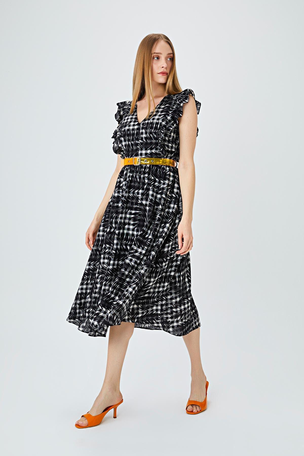 Yaprak desenli balon kol elbise Siyah
