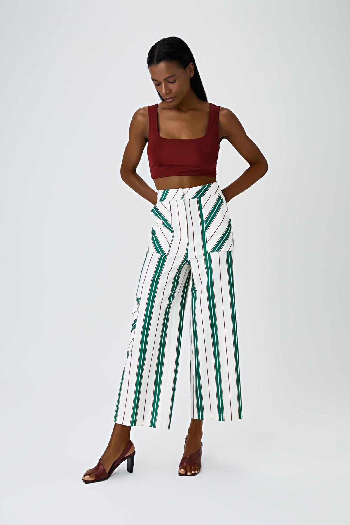 Çizgi desen culotte pantolon Yeşil