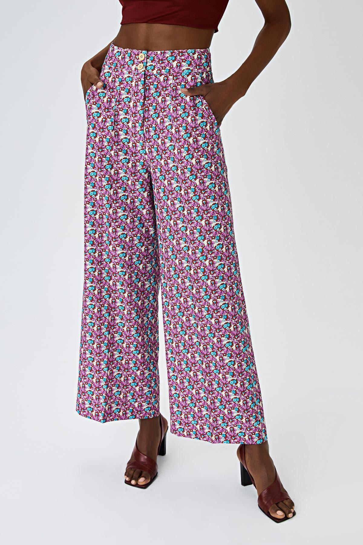 Çiçek desen yüksek bel pantolon Multi