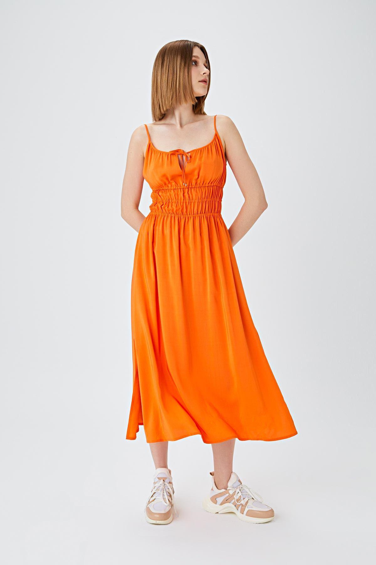 Bel büzgülü elbise Oranj
