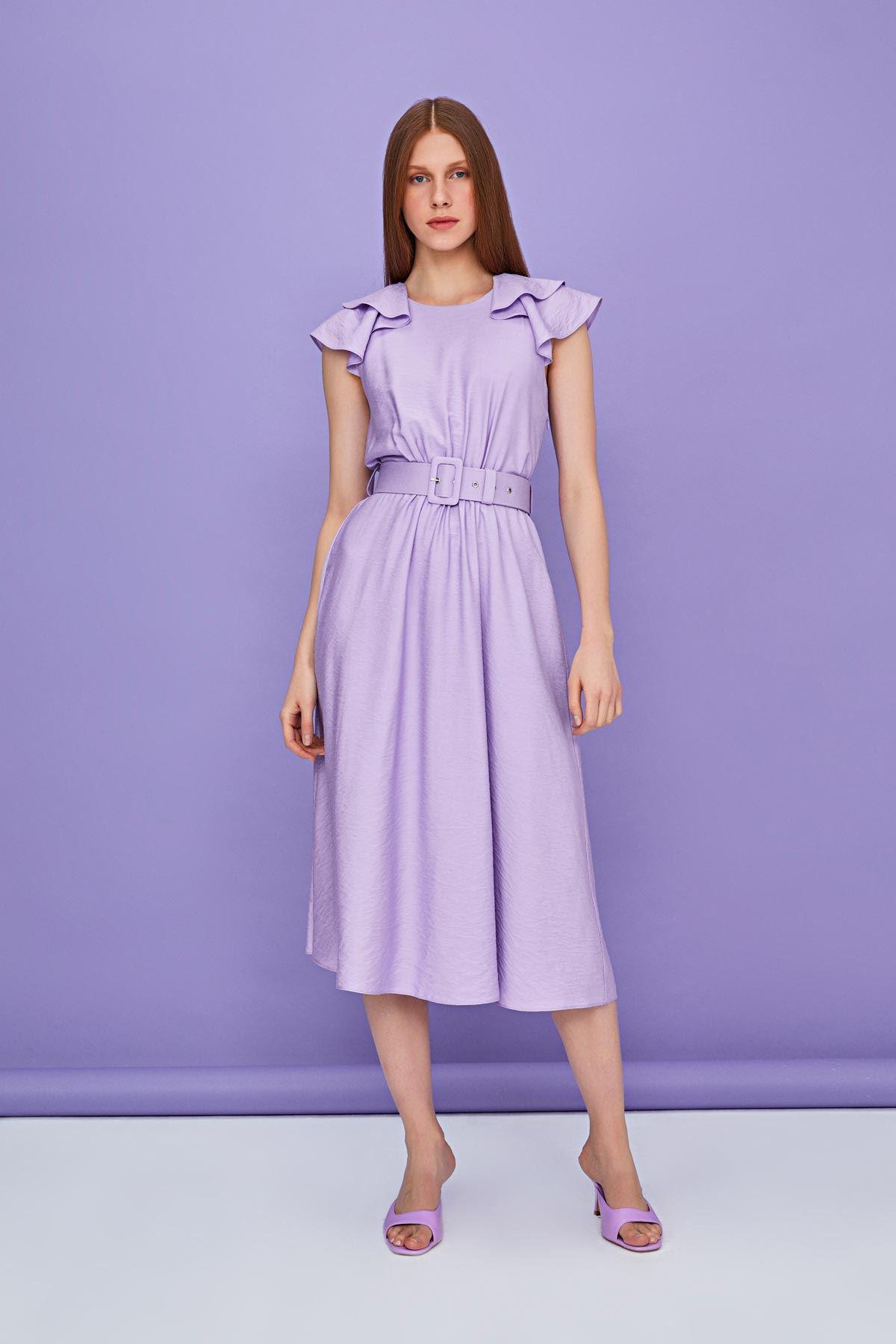 Fırfır şeritli elbise Lila