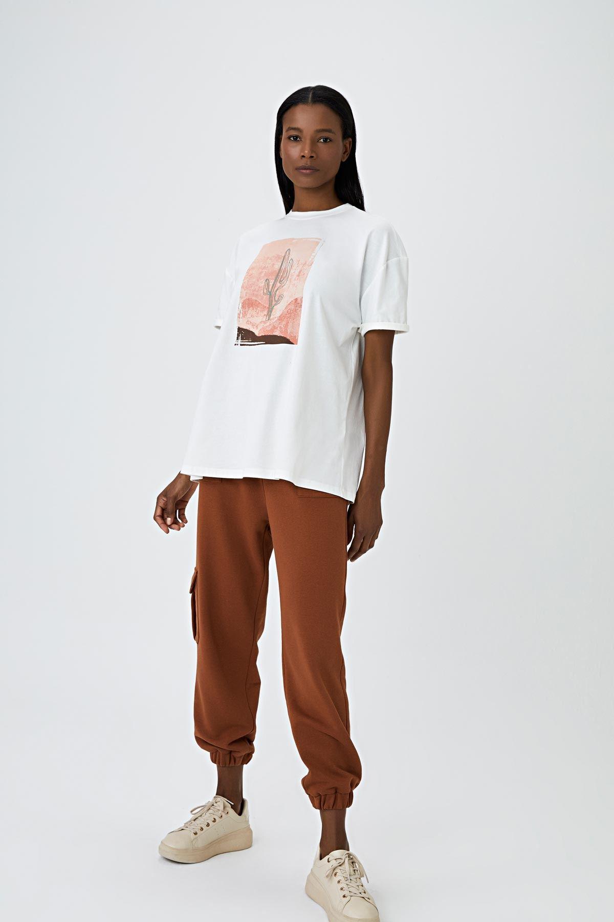 Kaktüs baskılı t-shirt Ekru