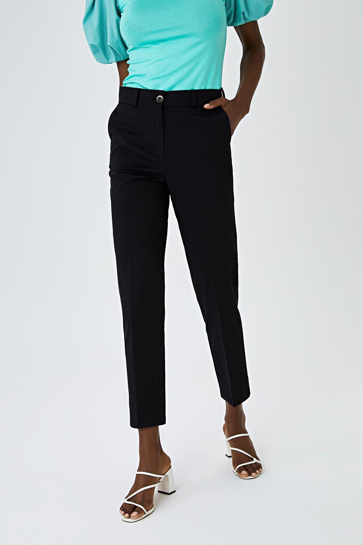 Dikiş detaylı pantolon Siyah
