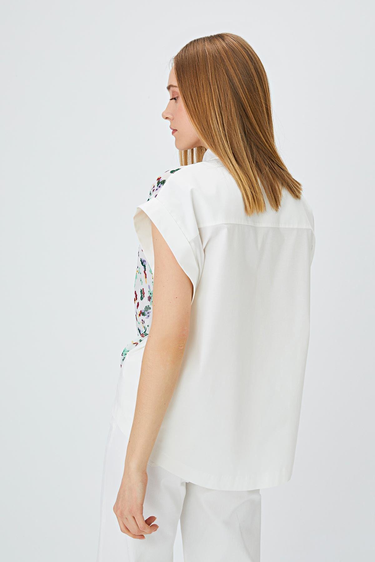 Kumaş mixli gömlek Ekru