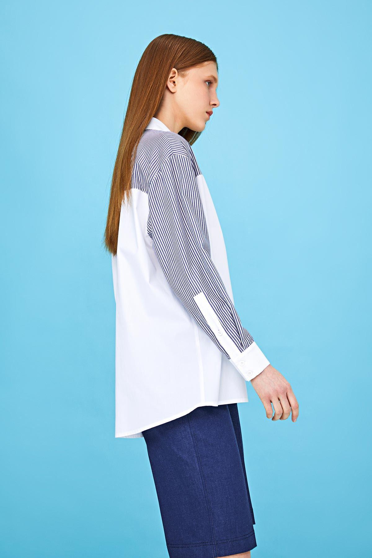 Kumaş mixli gömlek Beyaz