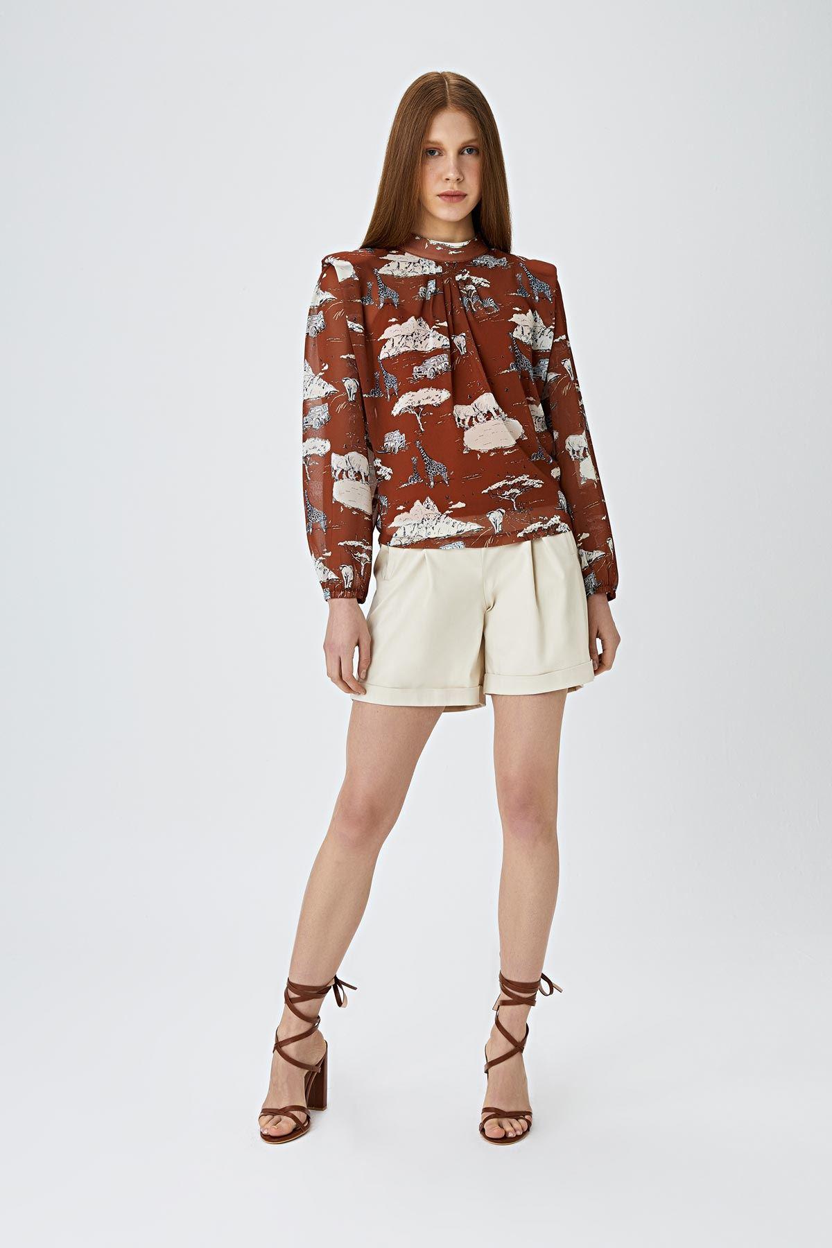 Afrikan desenli bluz Kiremit