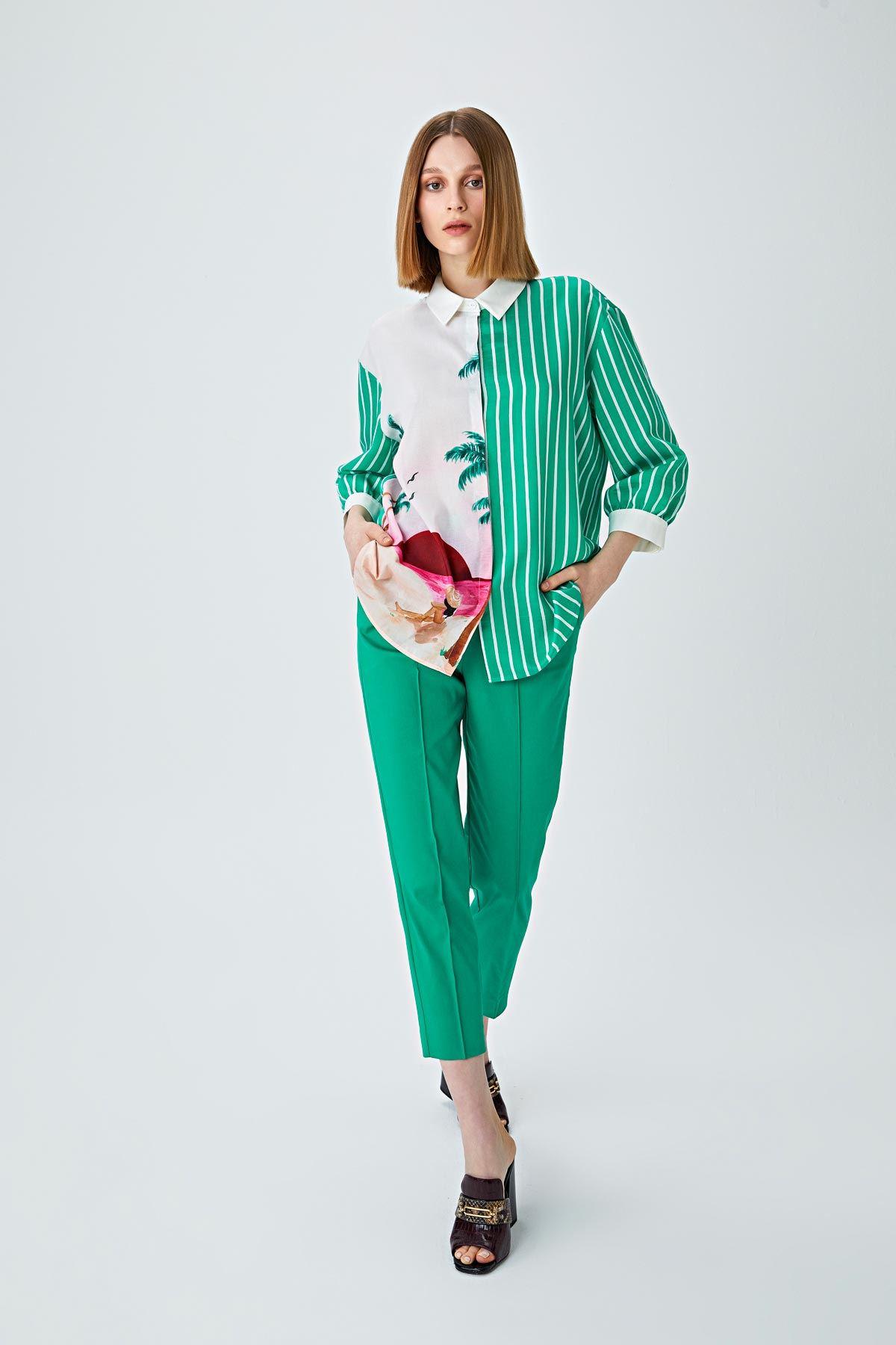 Renk geçişli gömlek Yeşil