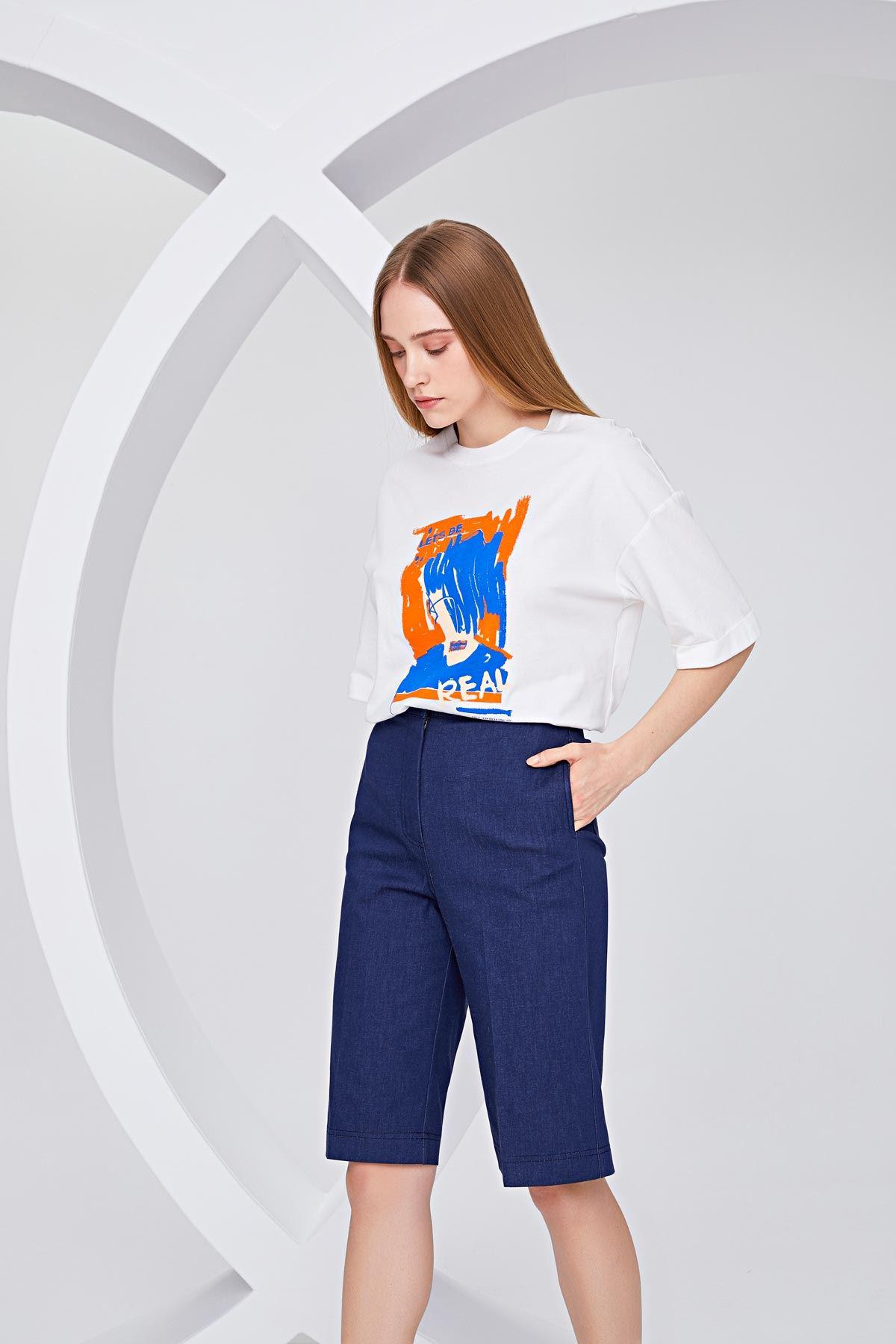 Görsel baskılı t-shirt Ekru